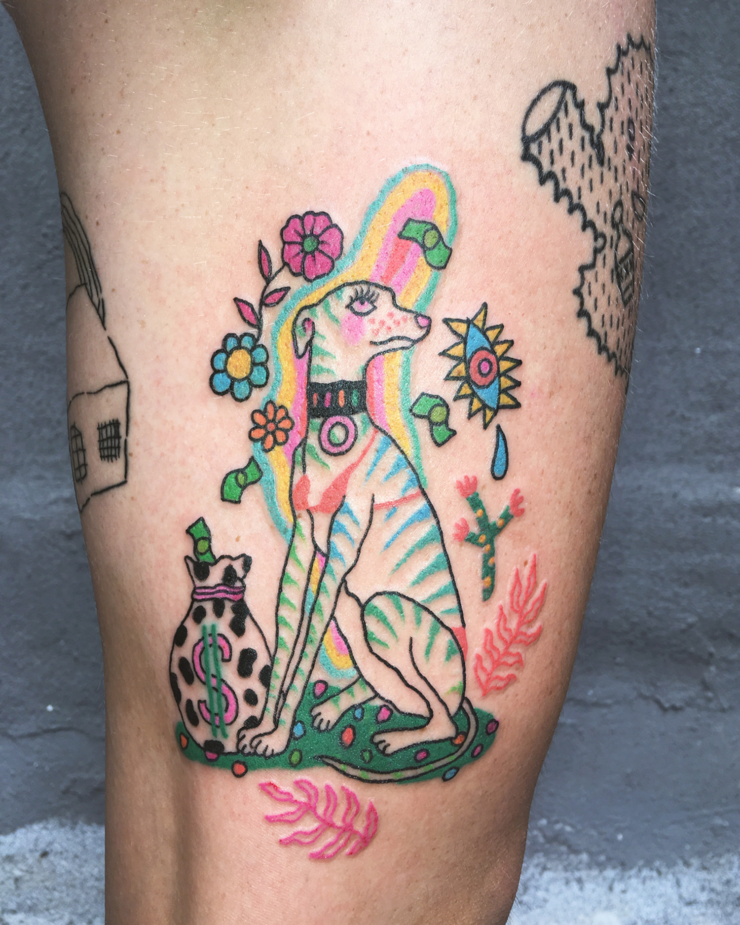 Charline Bataille - stripper dog tattoo