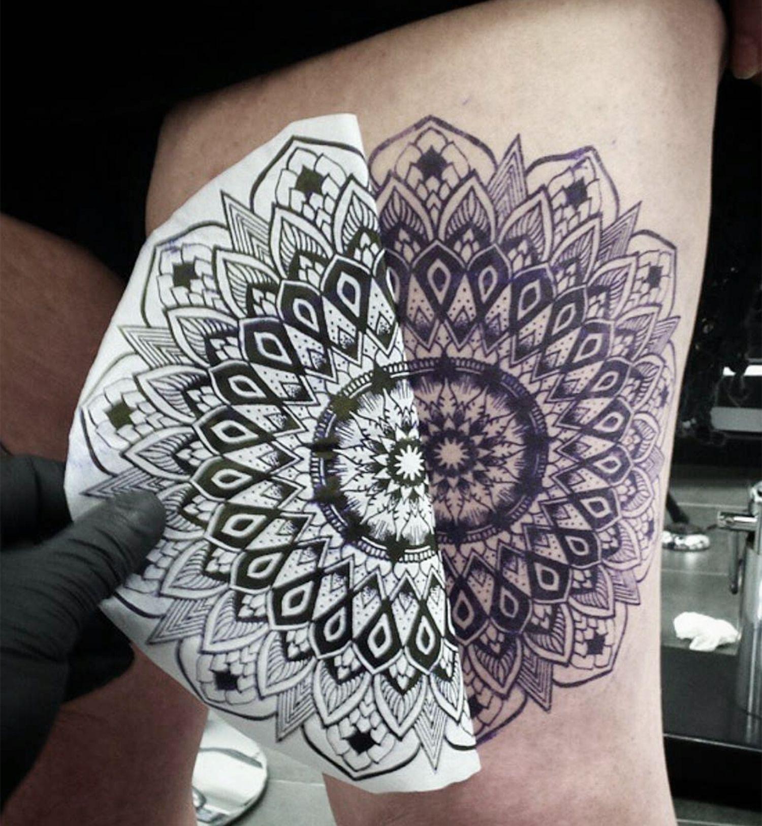 stencil tattoo of mandala on leg