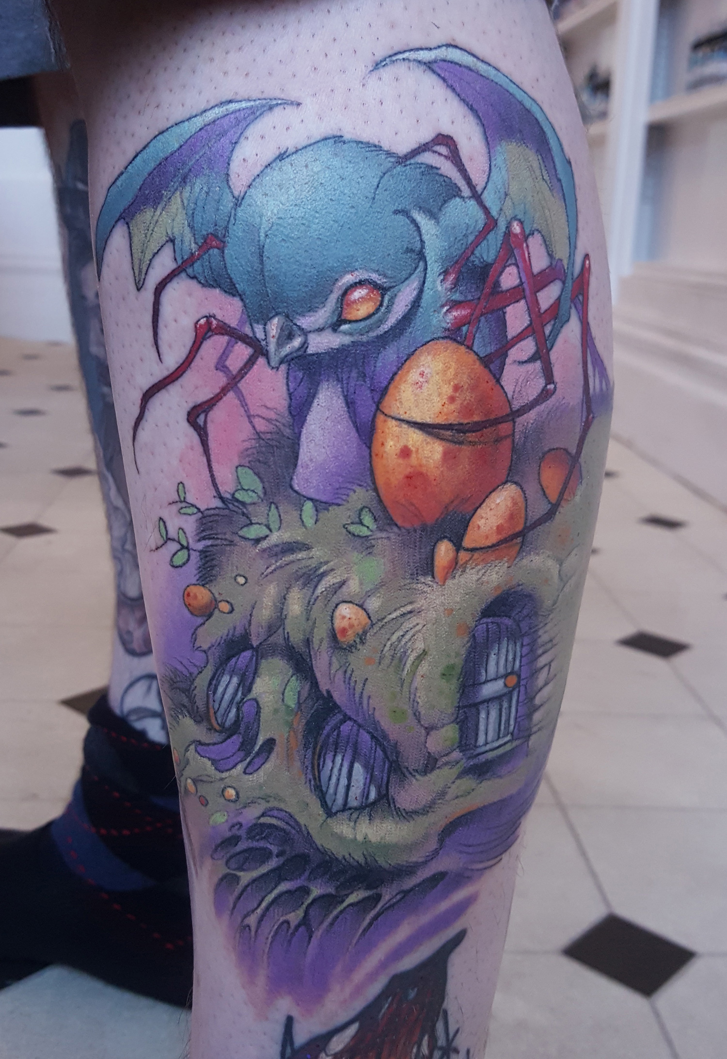 Tom Strom - Spiderbird with Eggs tattoo