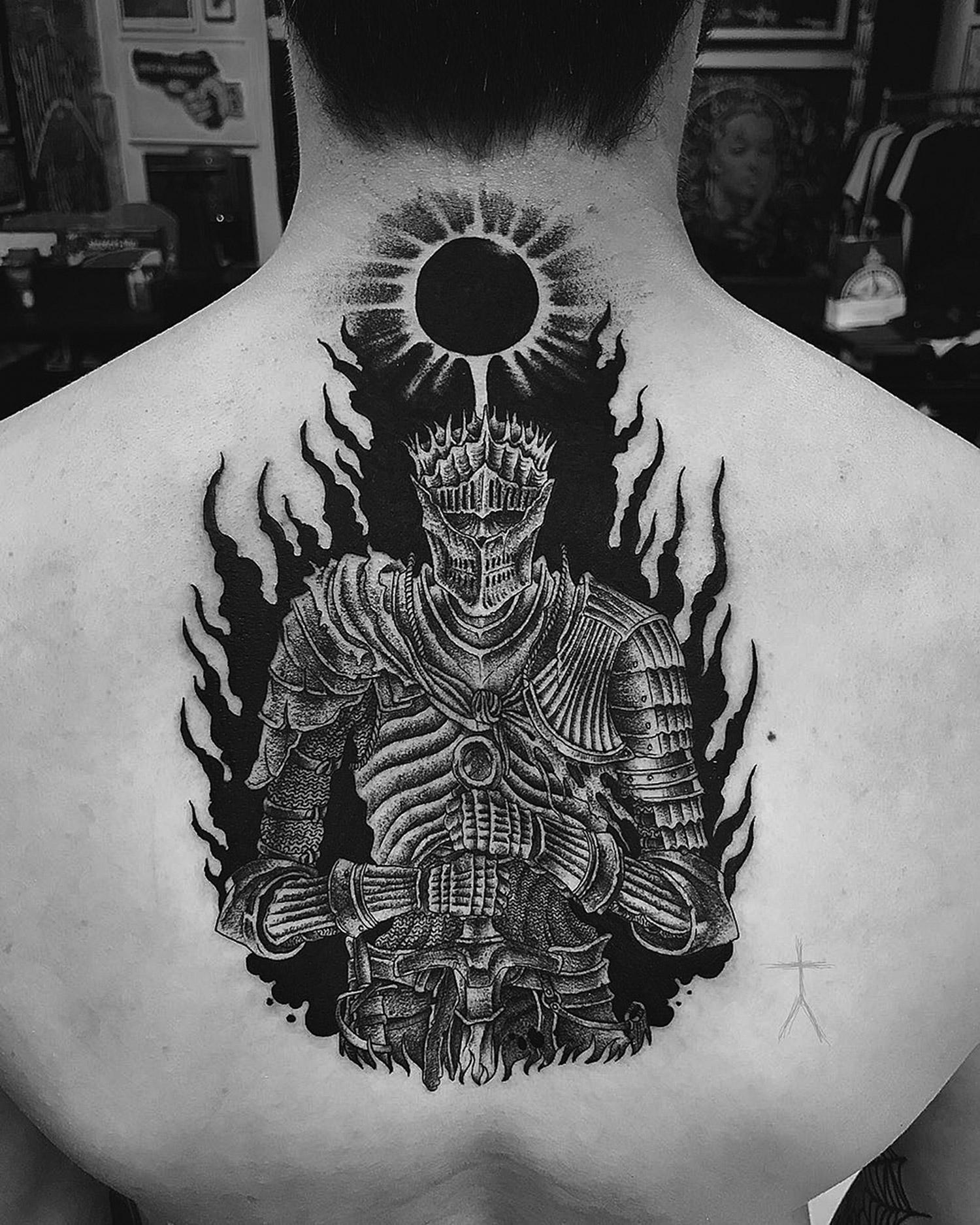 Christopher Jade tattoo - back knight
