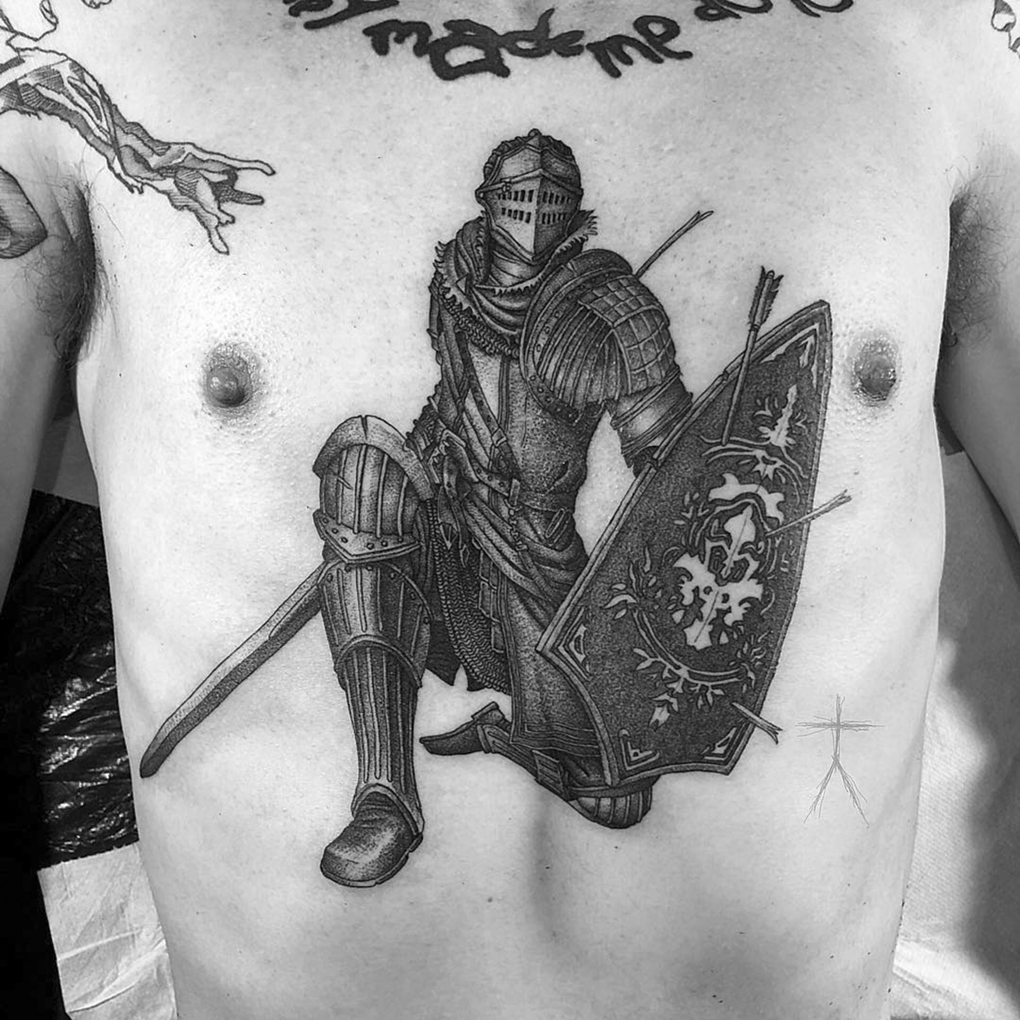 knight, blackwork tattoo on chest