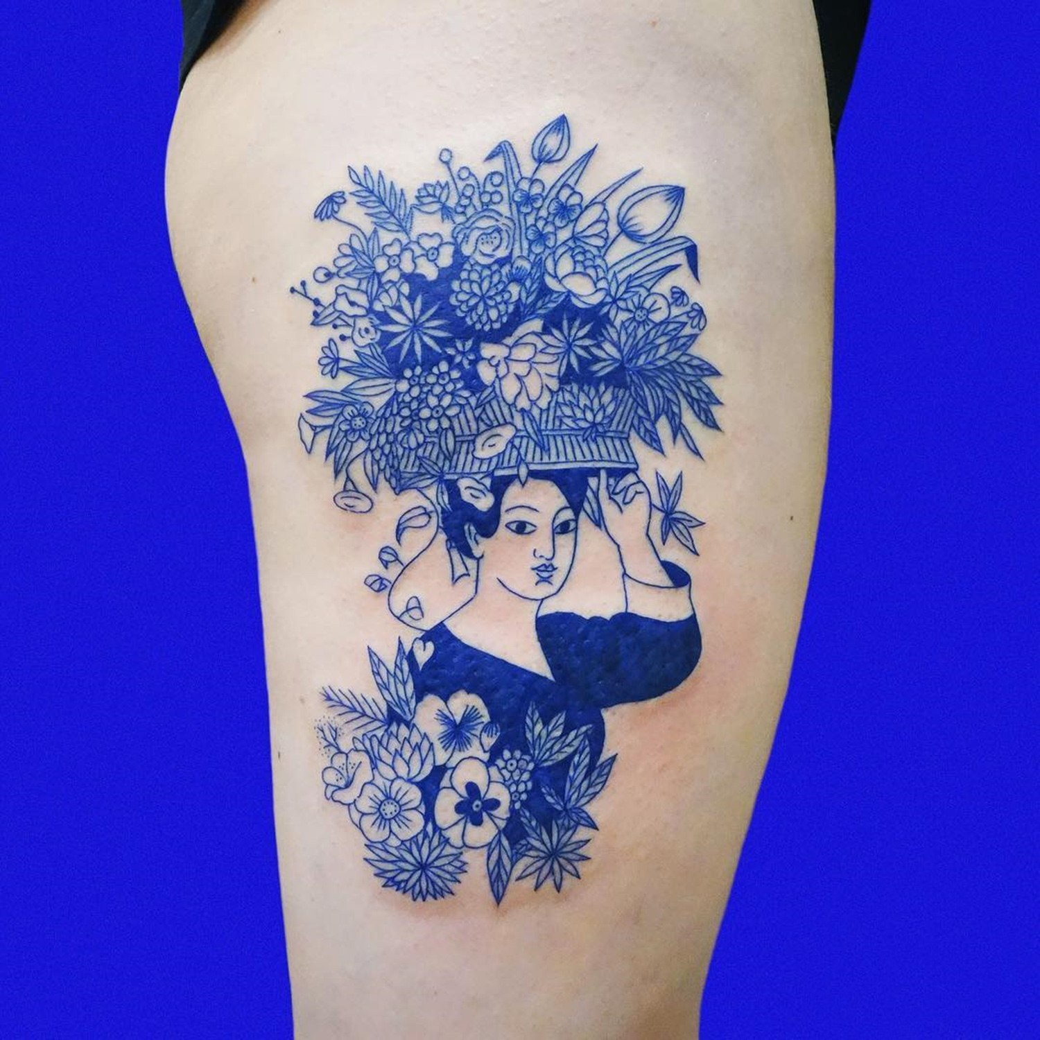 flower head lady, blue ink tattoo