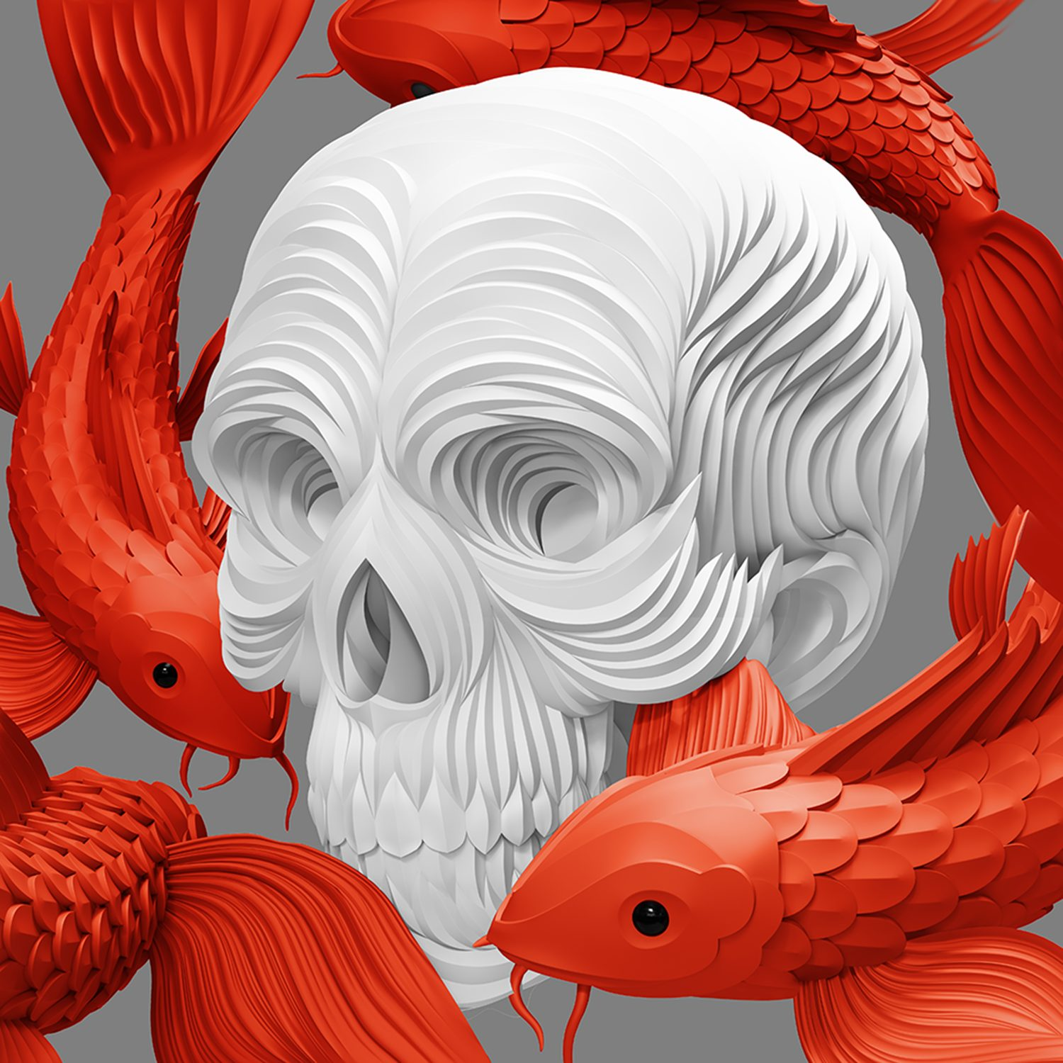 koi and skull, death, digital art