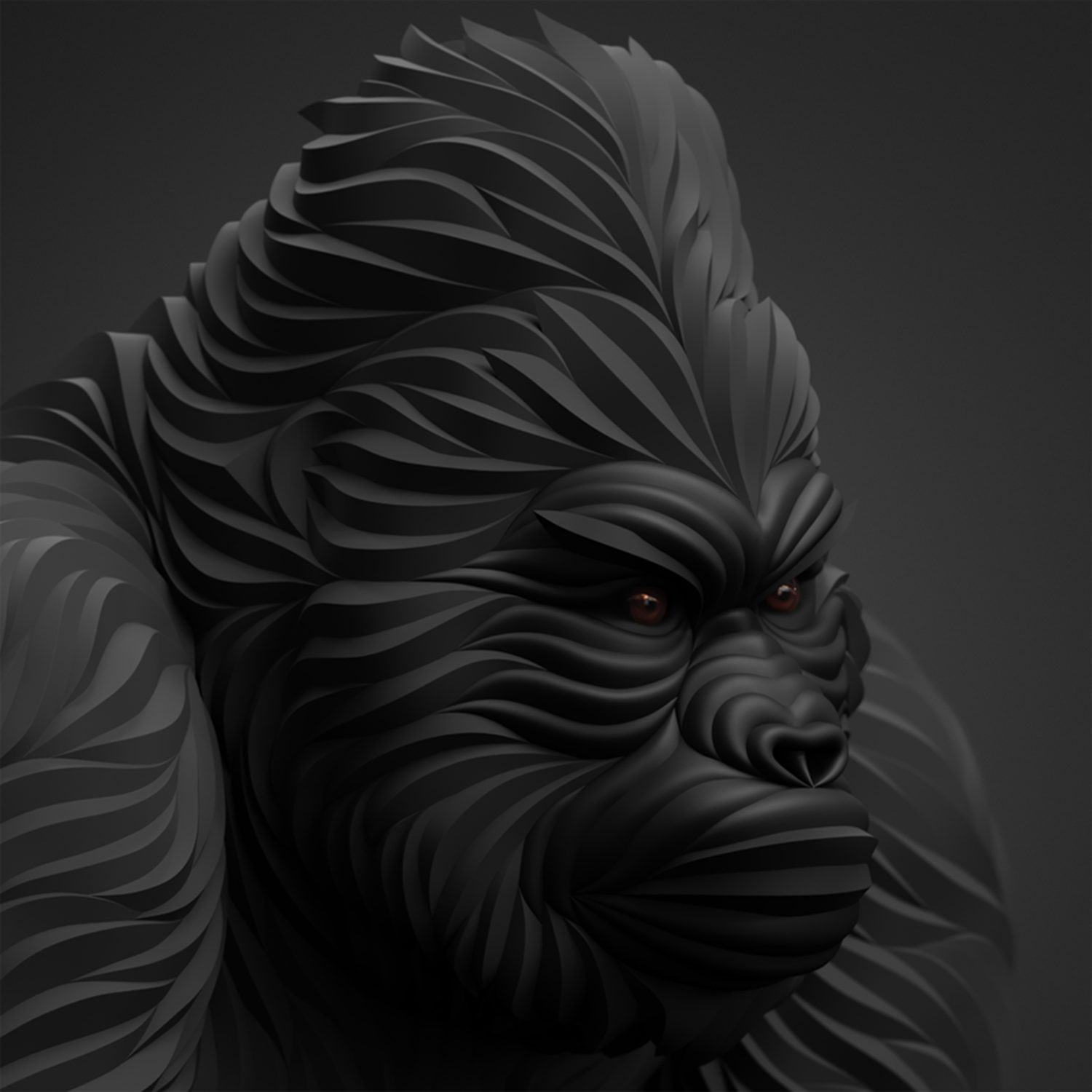 gorilla 3d art in black