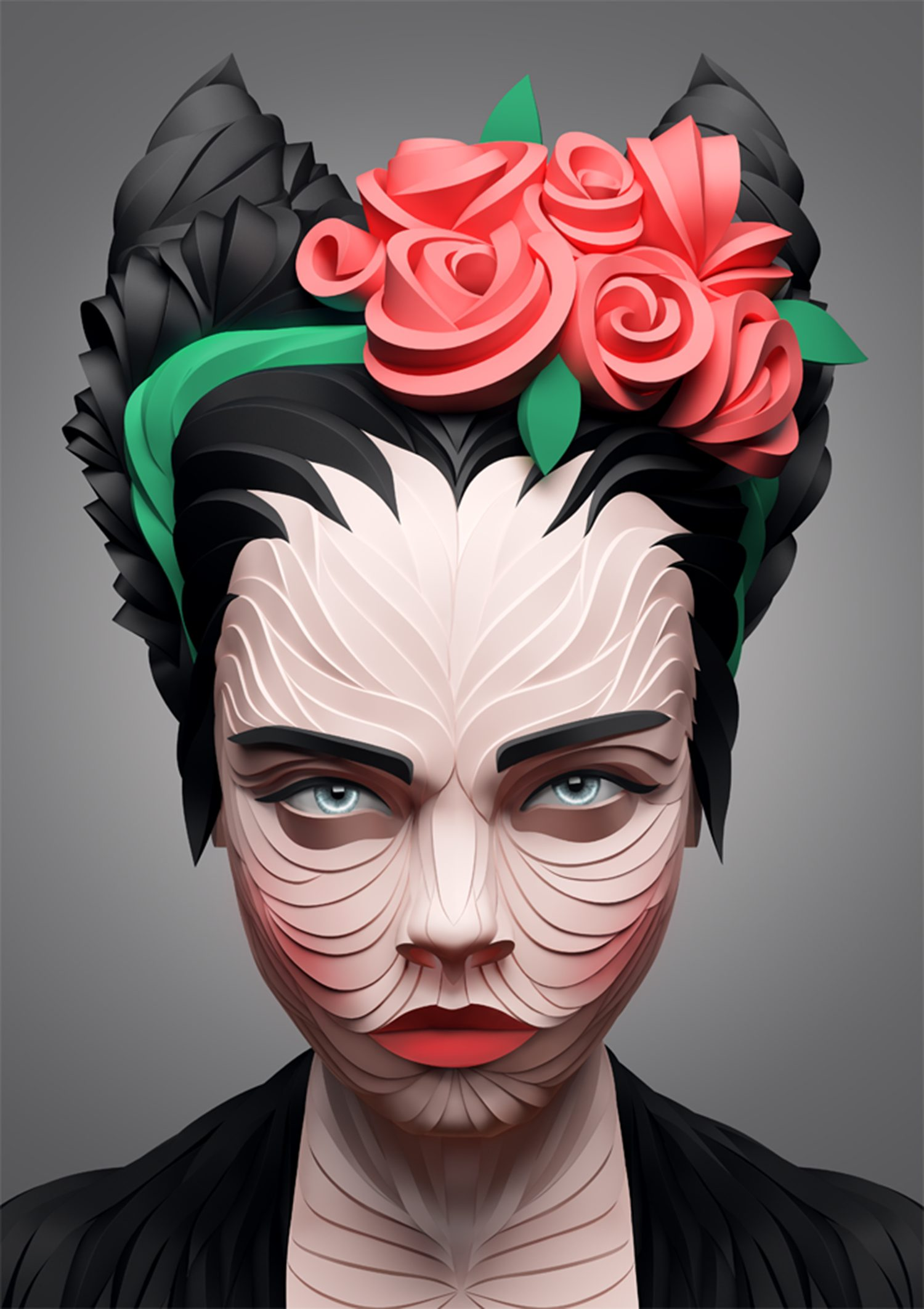 Girl with roses hairband, digital art
