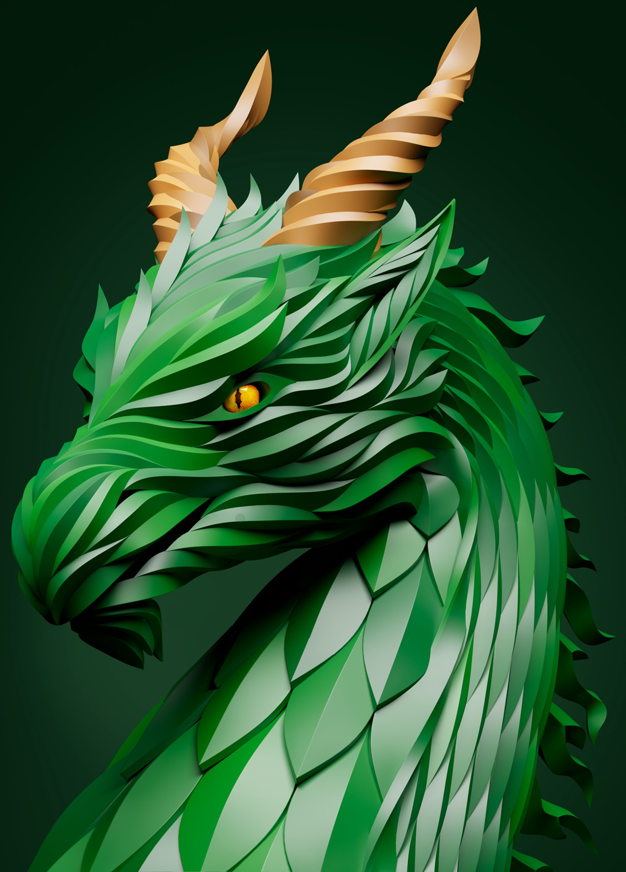 green dragon 3d art, digital art, epic