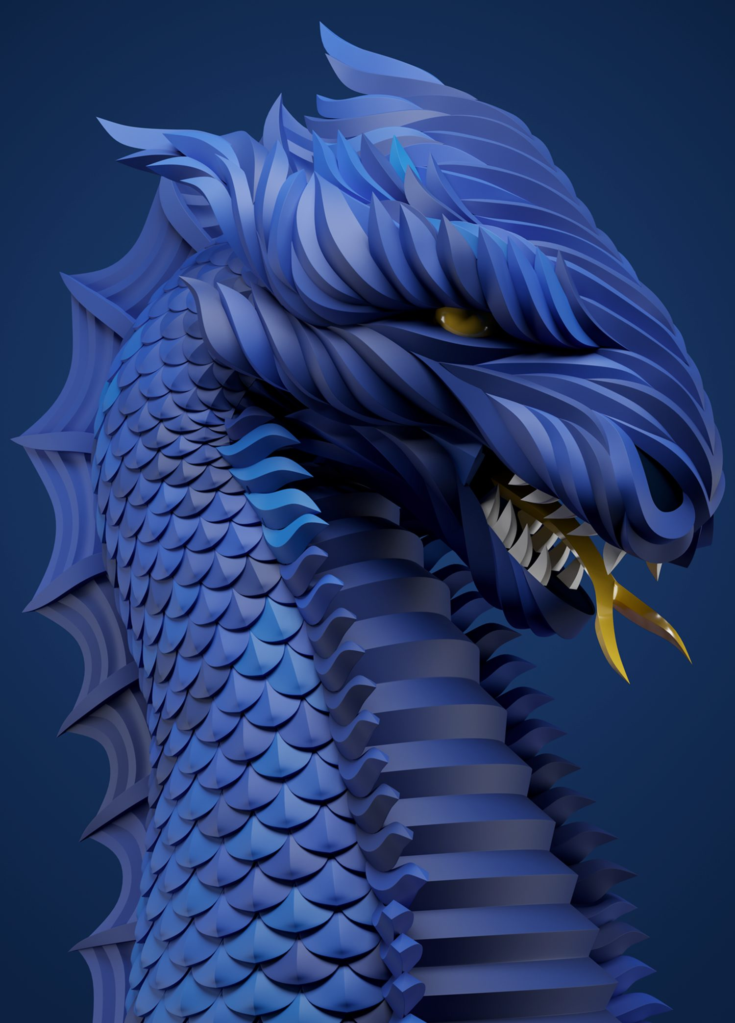 Blue dragon, digital art