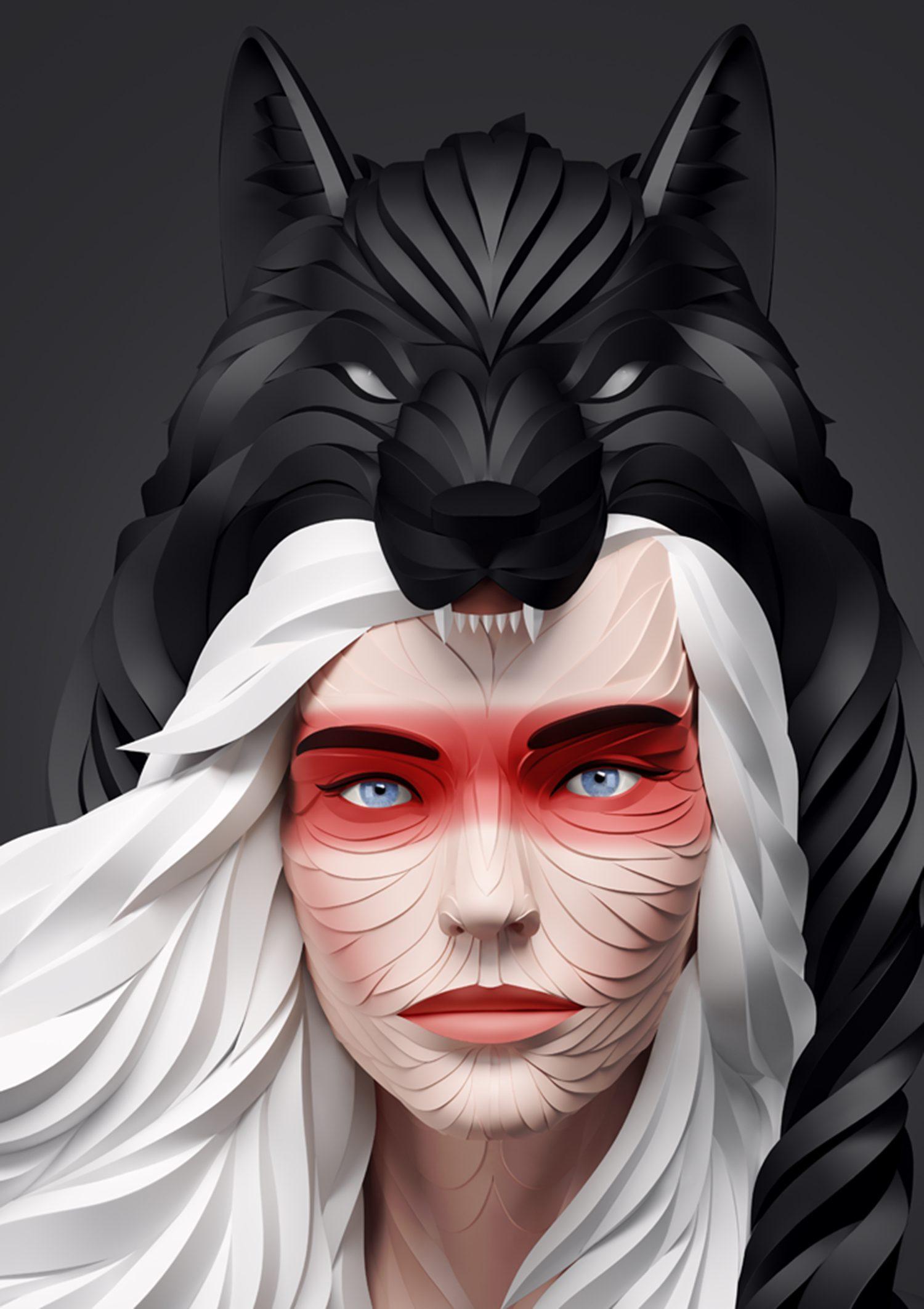 Wolf head woman
