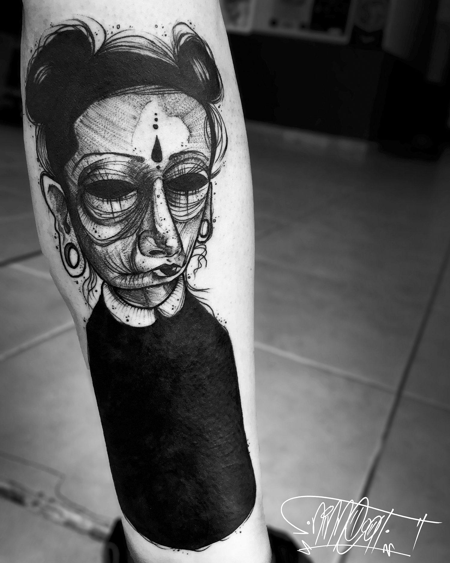 gothic girl, sketch tattoo
