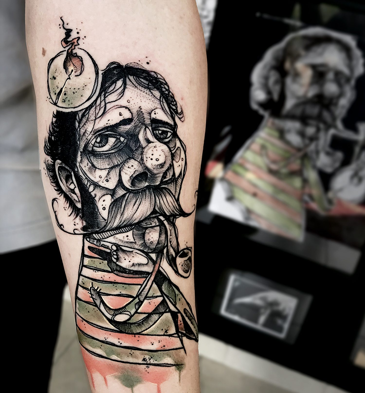 man with pipe, sketch style tattoo