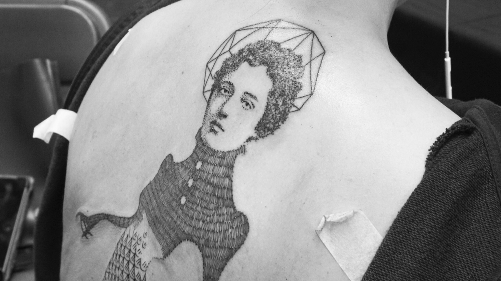 victorian mermaid tattoo on back