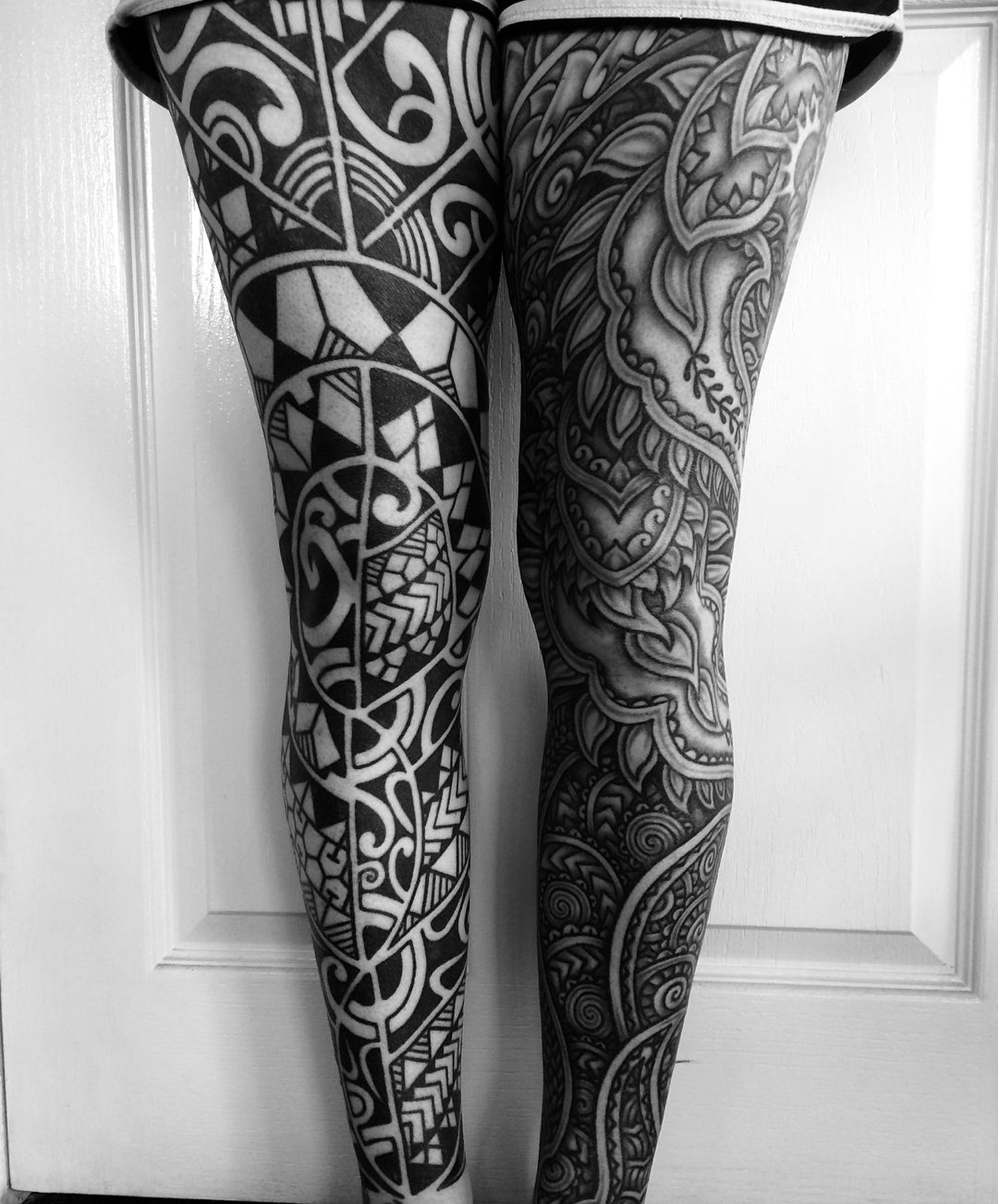leg tattoos, blackwork