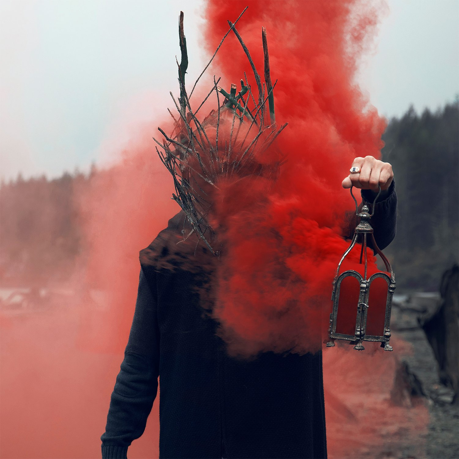 red smoke, portrait photography