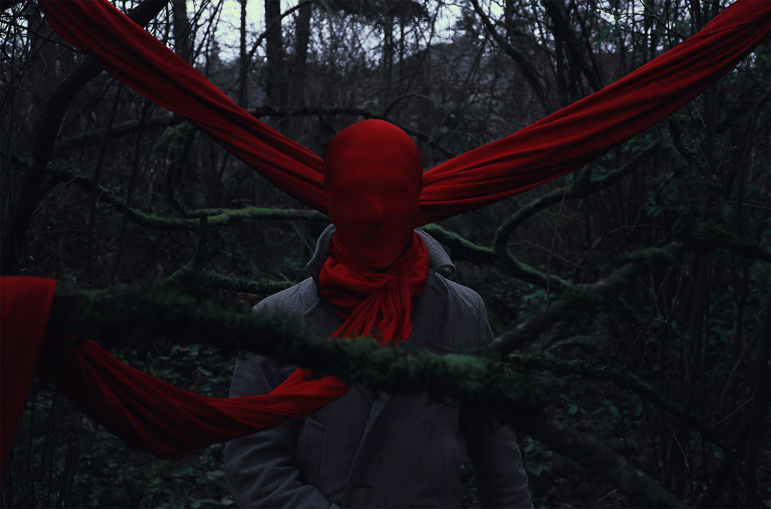 bound and tied in red sheets, dark photography