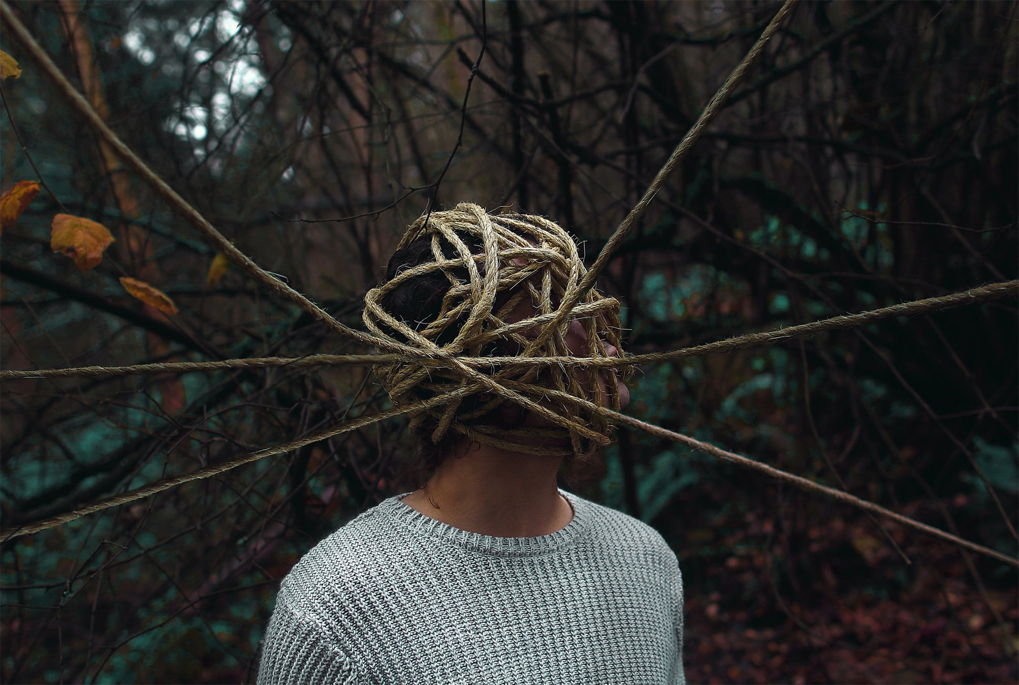 bound, rope tied to head, dark photography