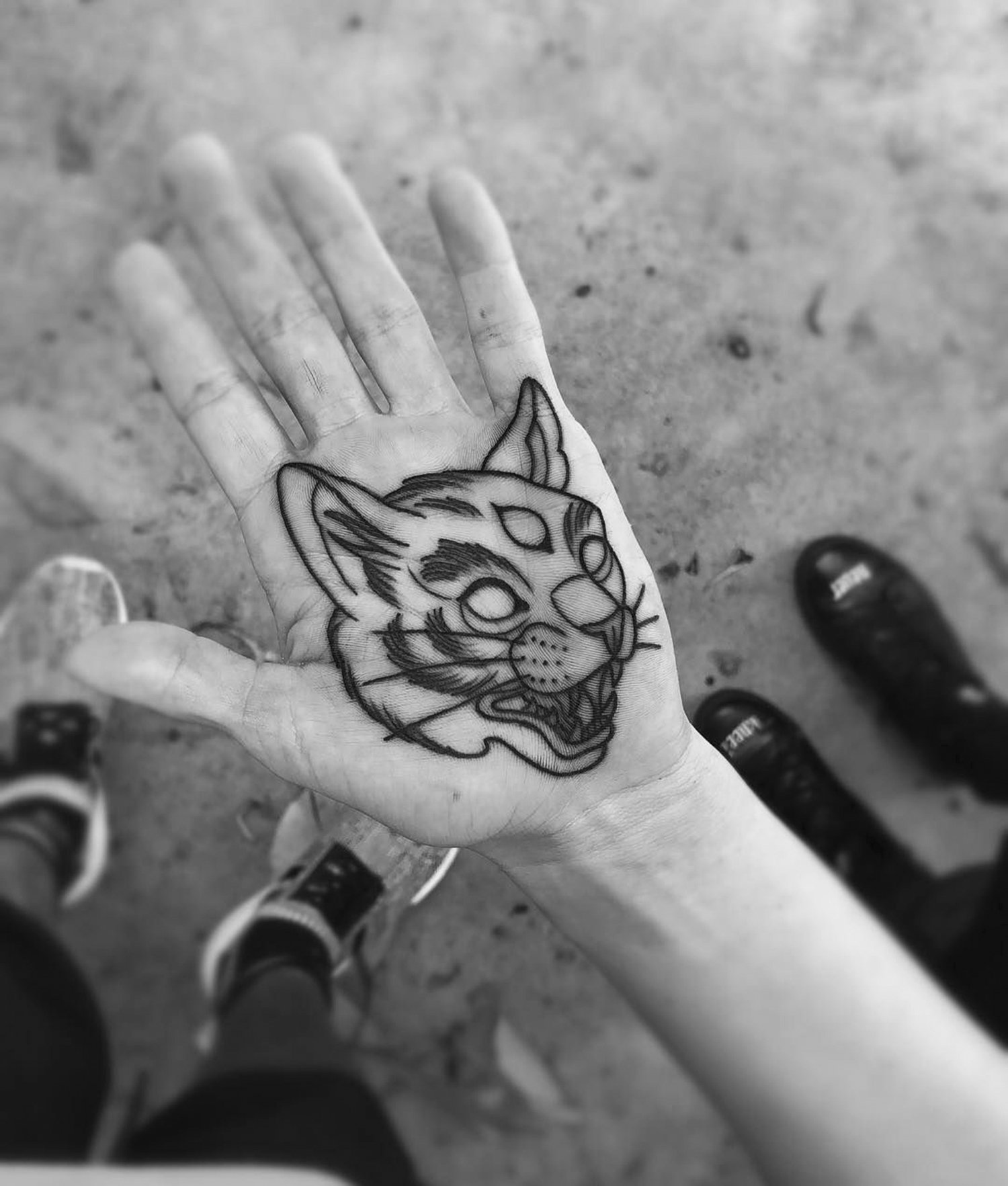 three eyed tiger on hand, palm tattoos