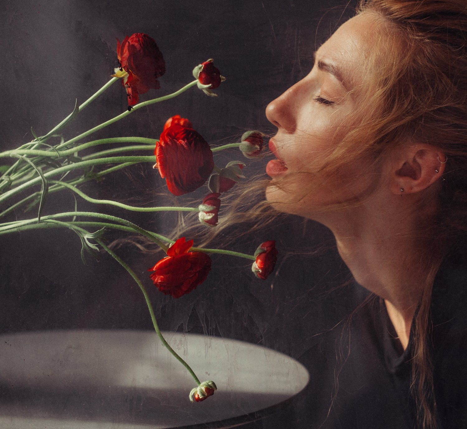 smelling flowers, portrait