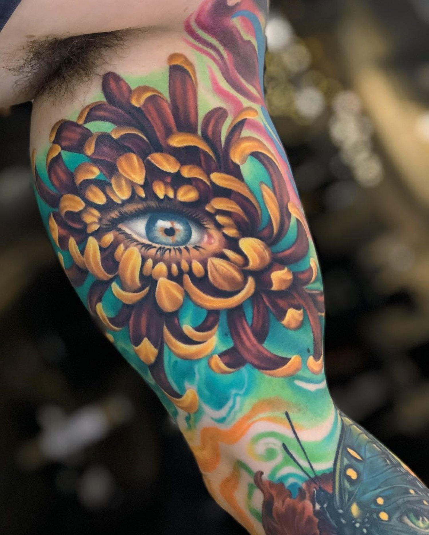 flower and eye, realistic style, surreal tattoo
