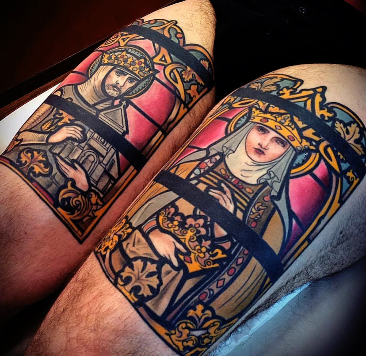 king and queen, stainless glass tattoo on back