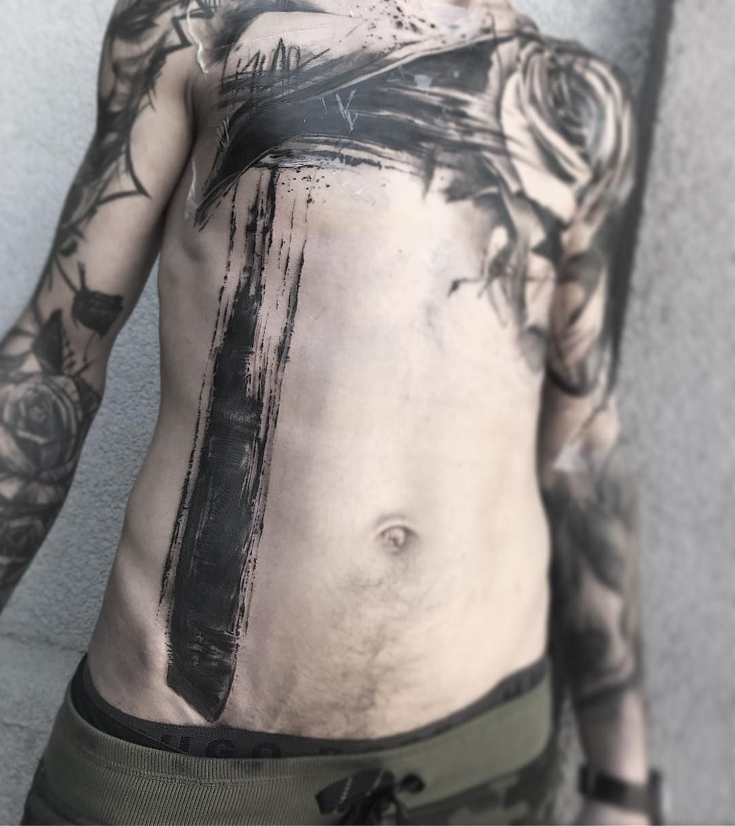 painterly tattoo on chest,