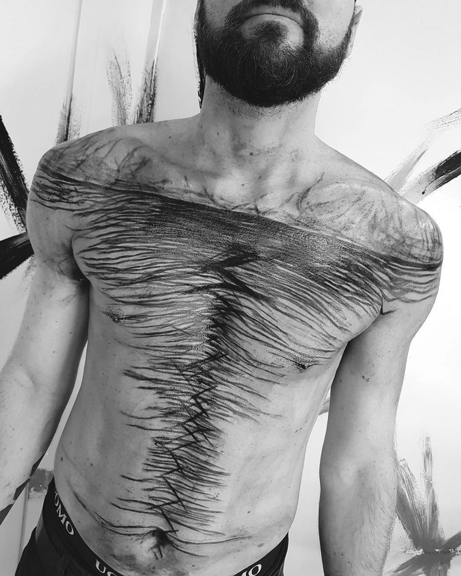 brutal black project, tattooed chest