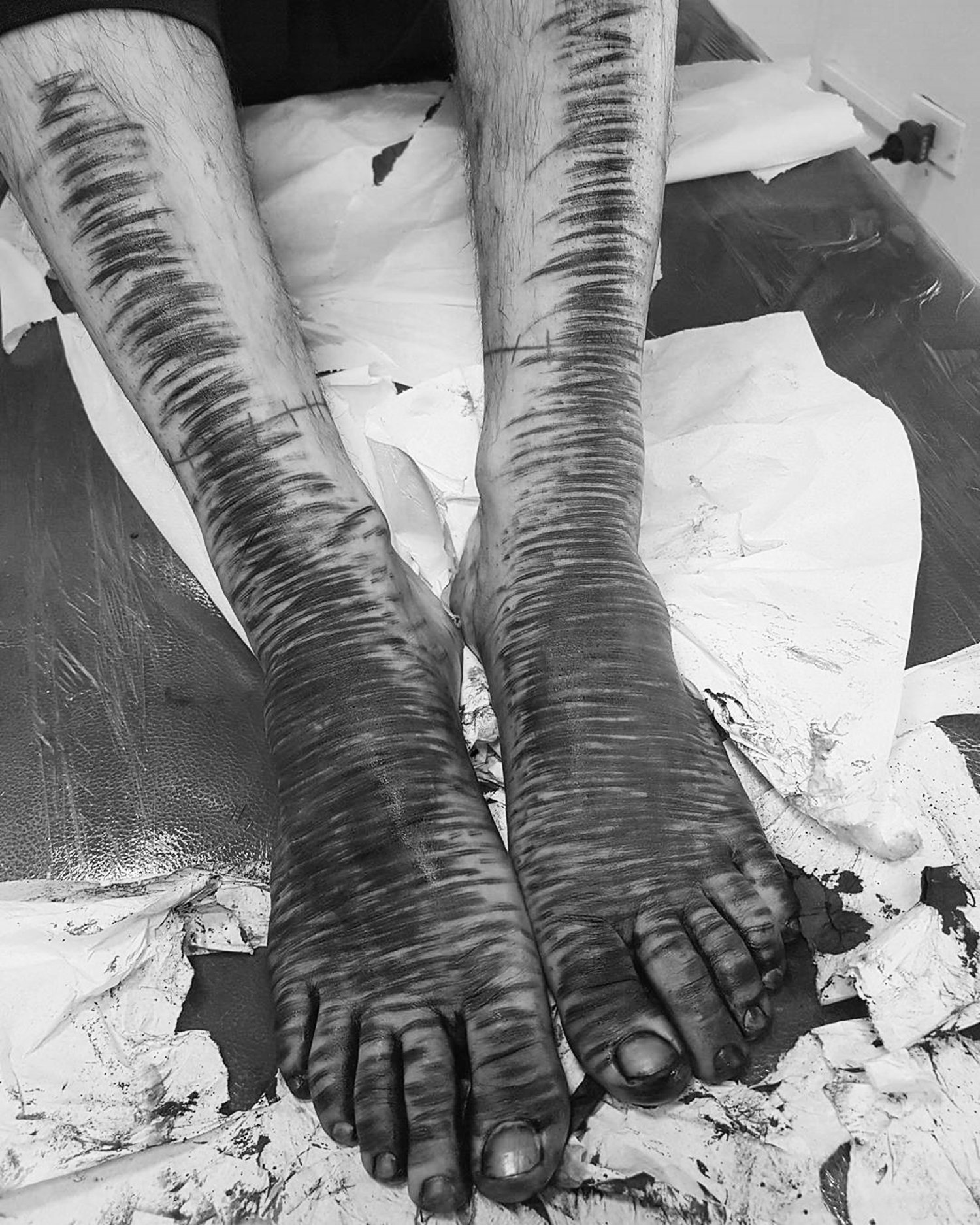 tattooed feet, blacking