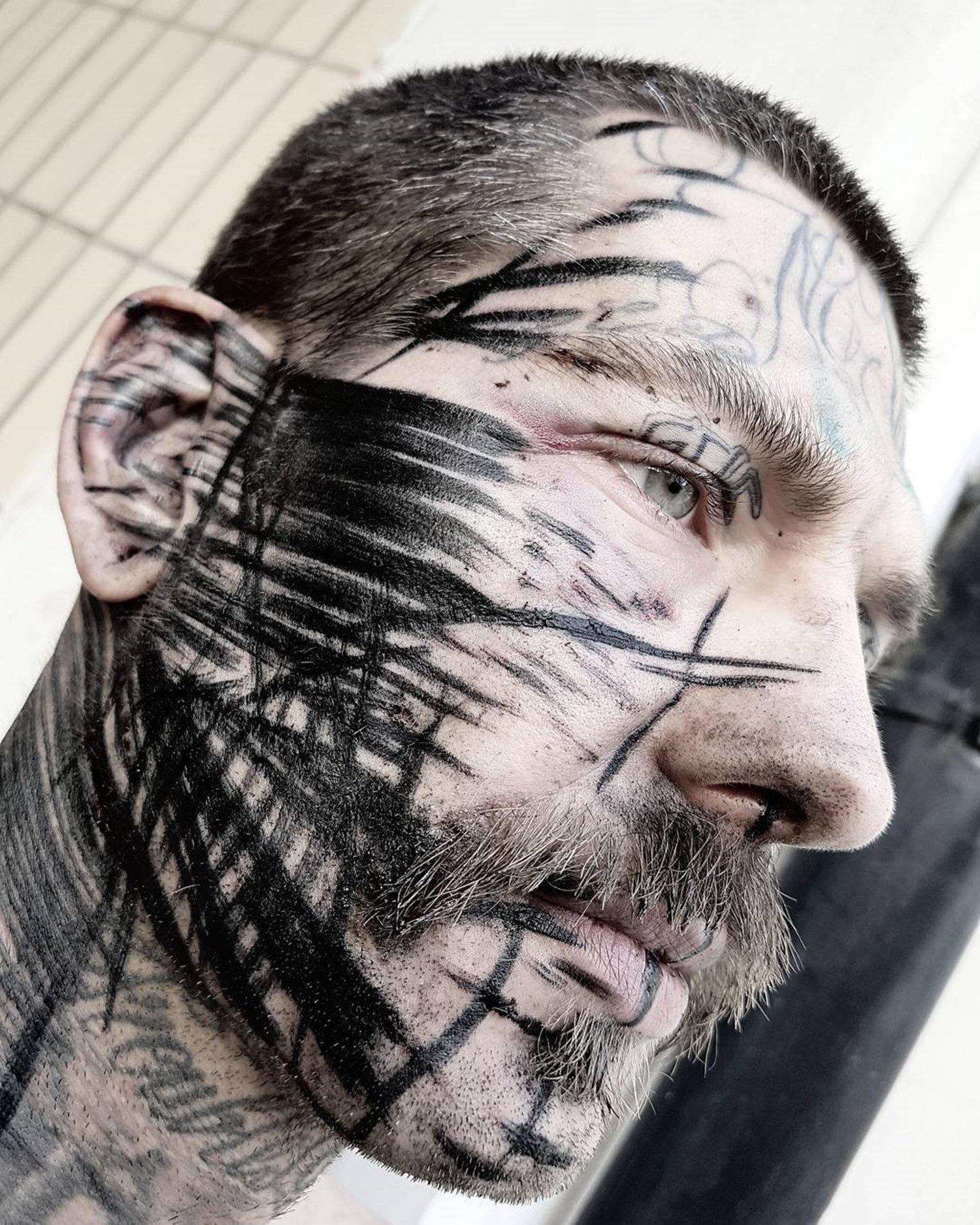 black inked face