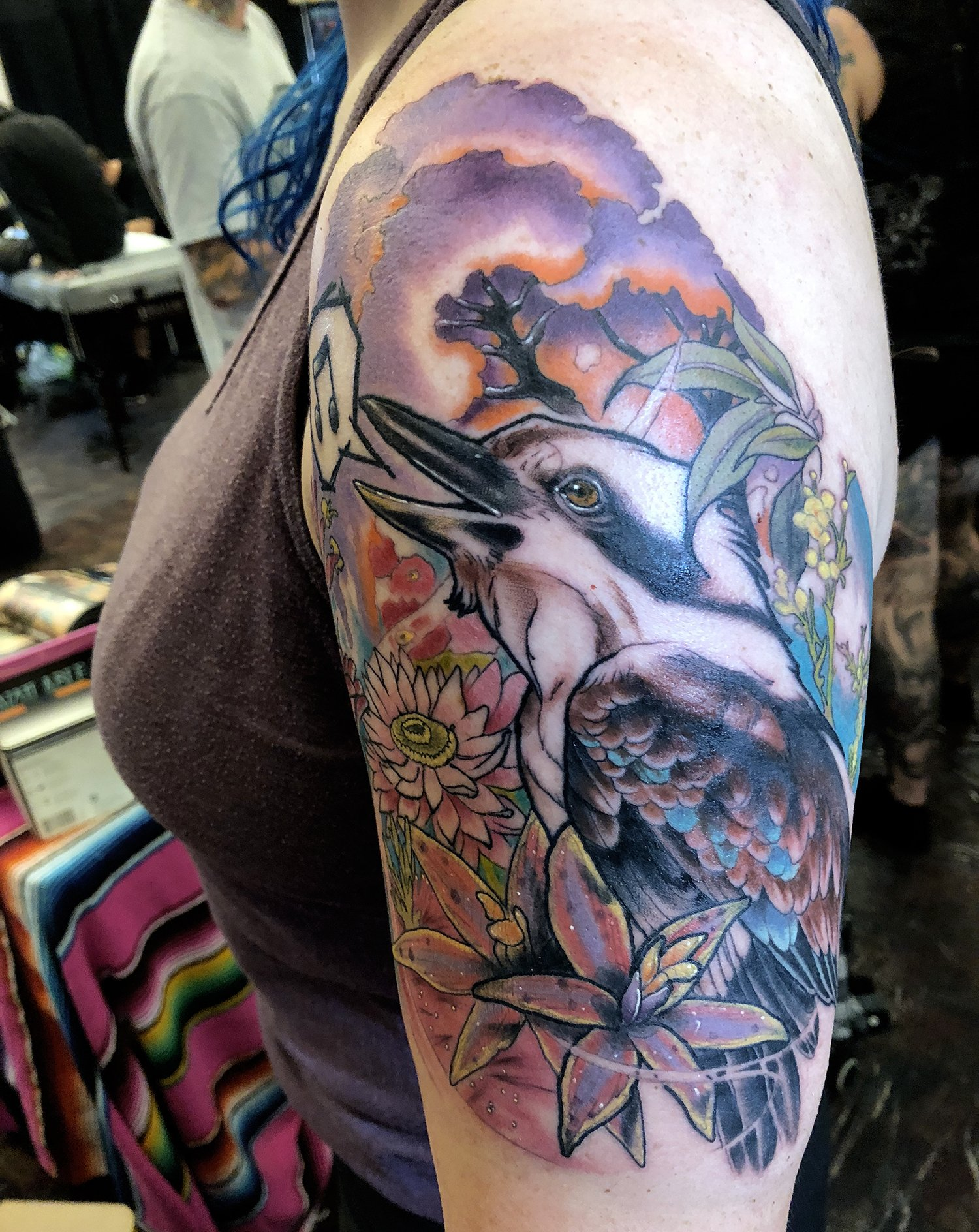 color tattoo, bird on half sleeve by paige faihe