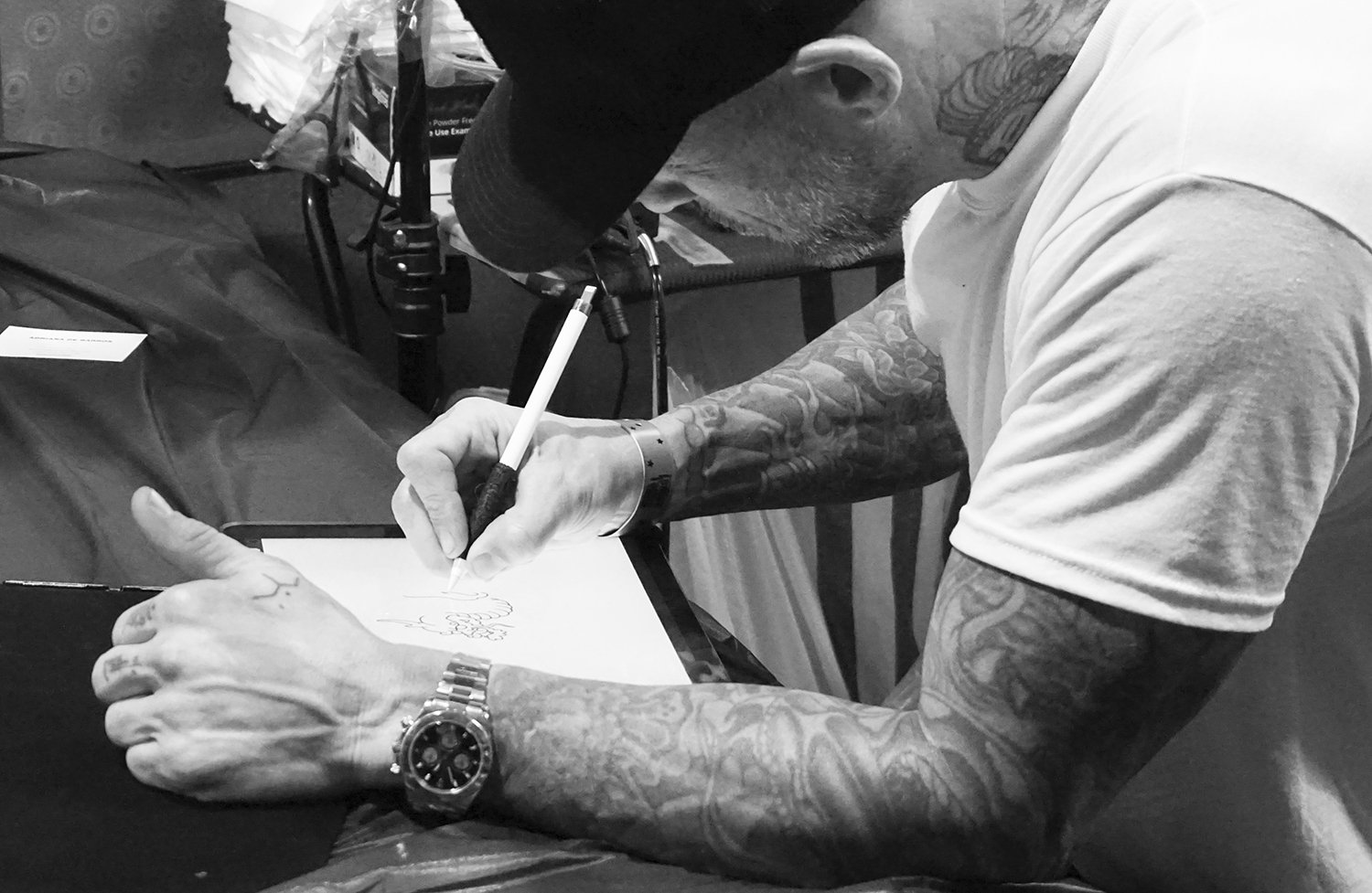 ami james drawing tattoo on tablet, interview