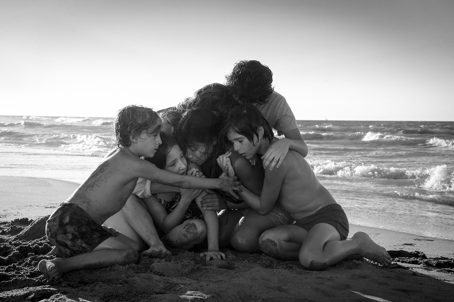 children on beach, Roma movie