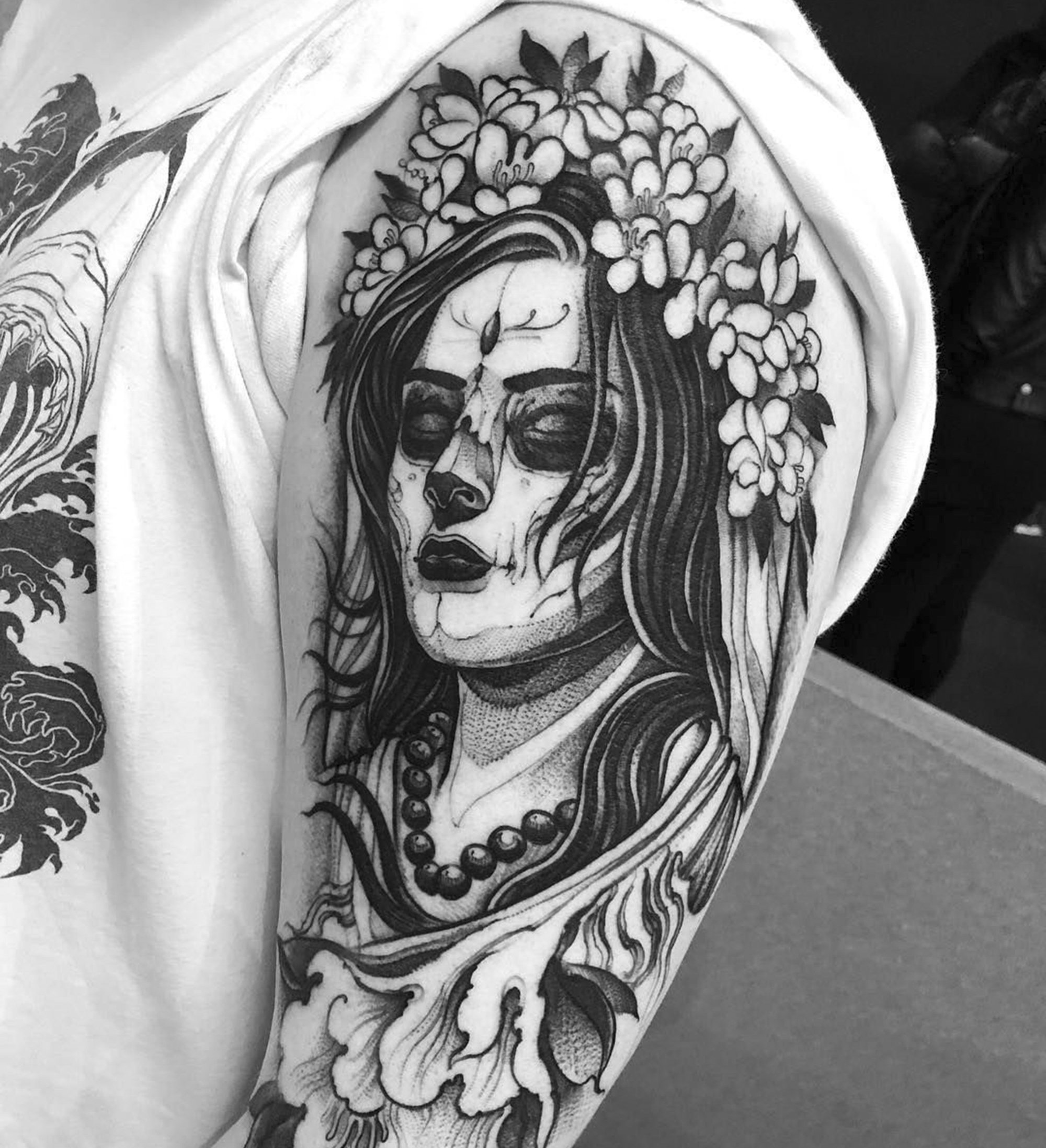 day of the dead, blackwork tattoo on arm