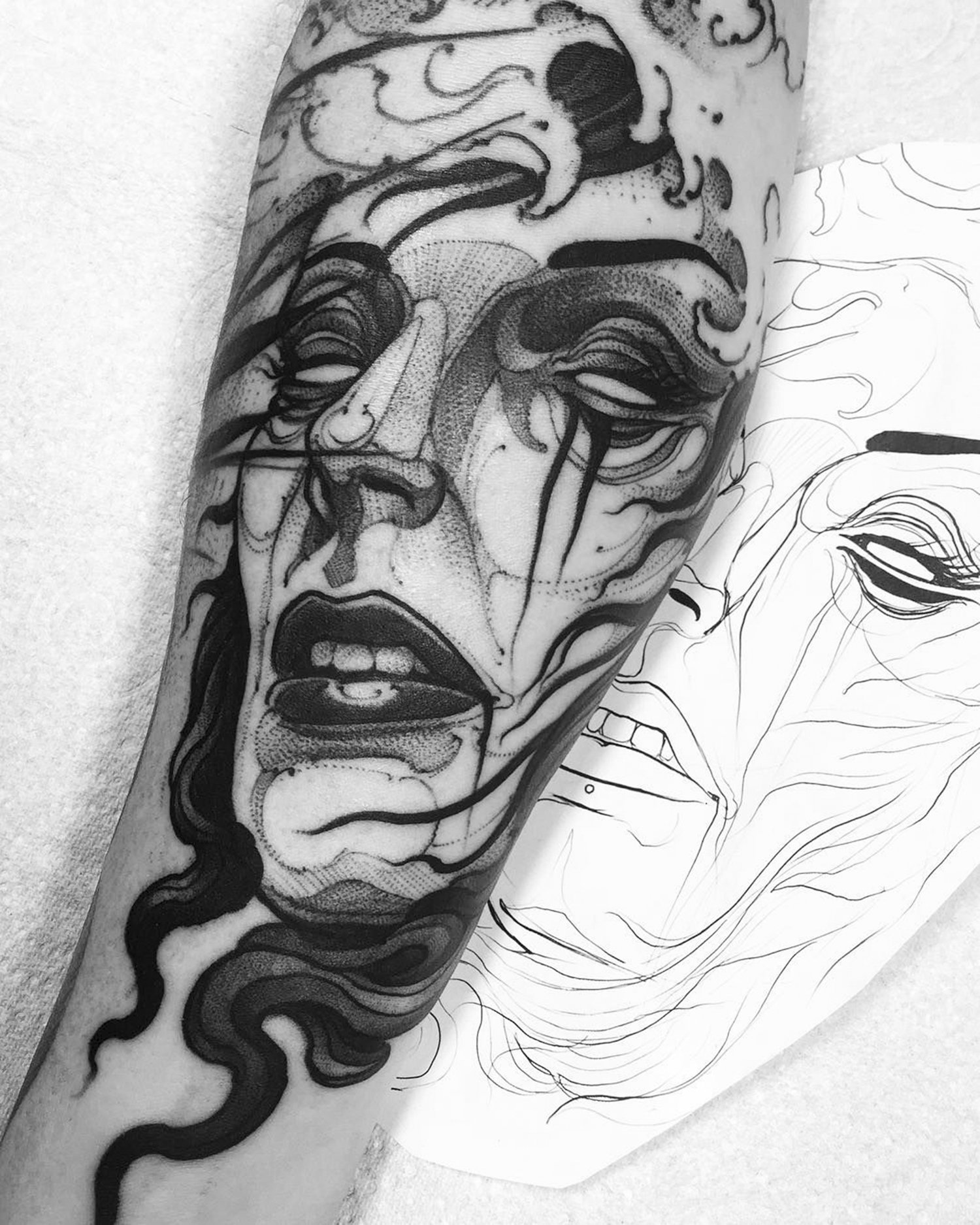 portrait of crying woman, blackwork, illustrative tattoo