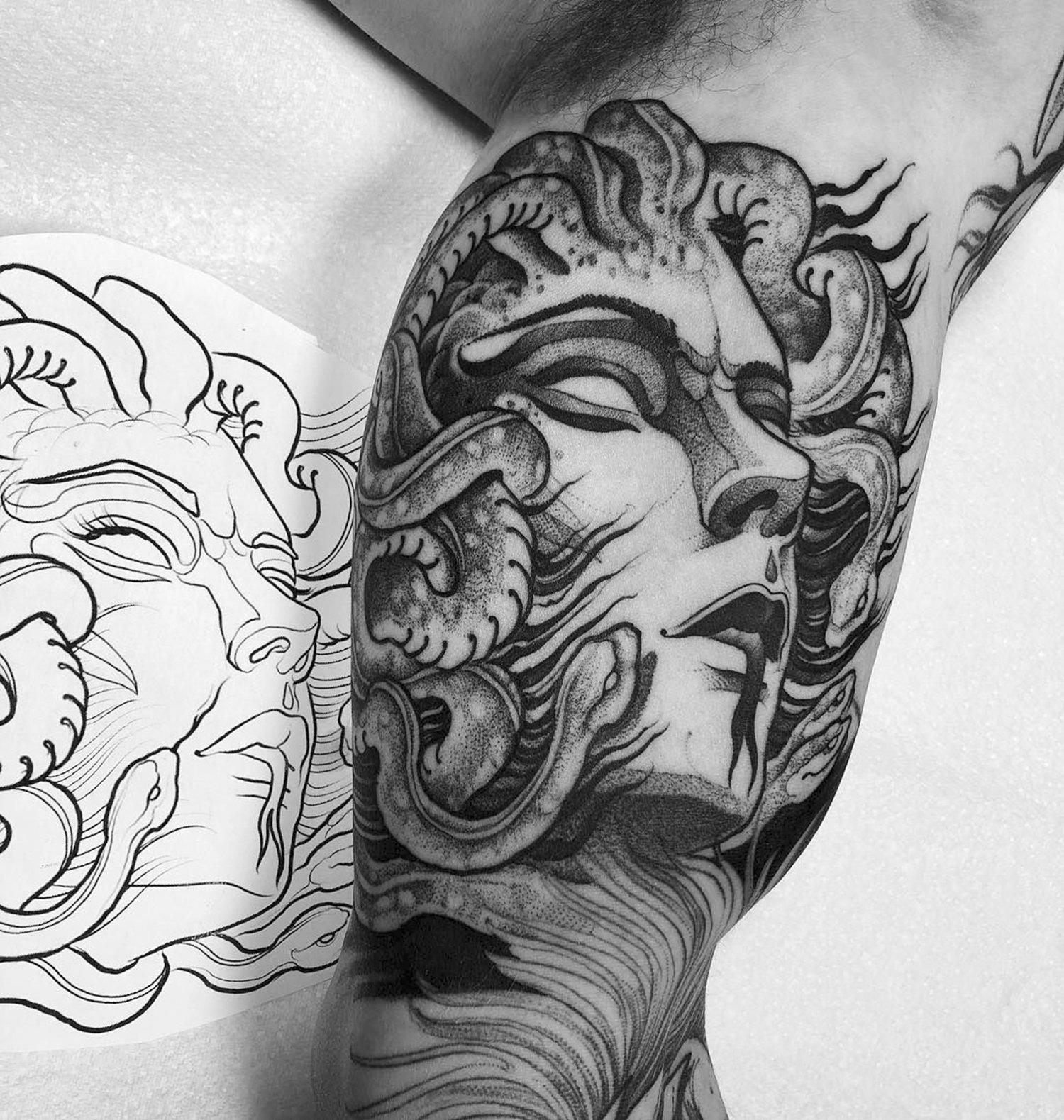 medusa tattoo, blackwork