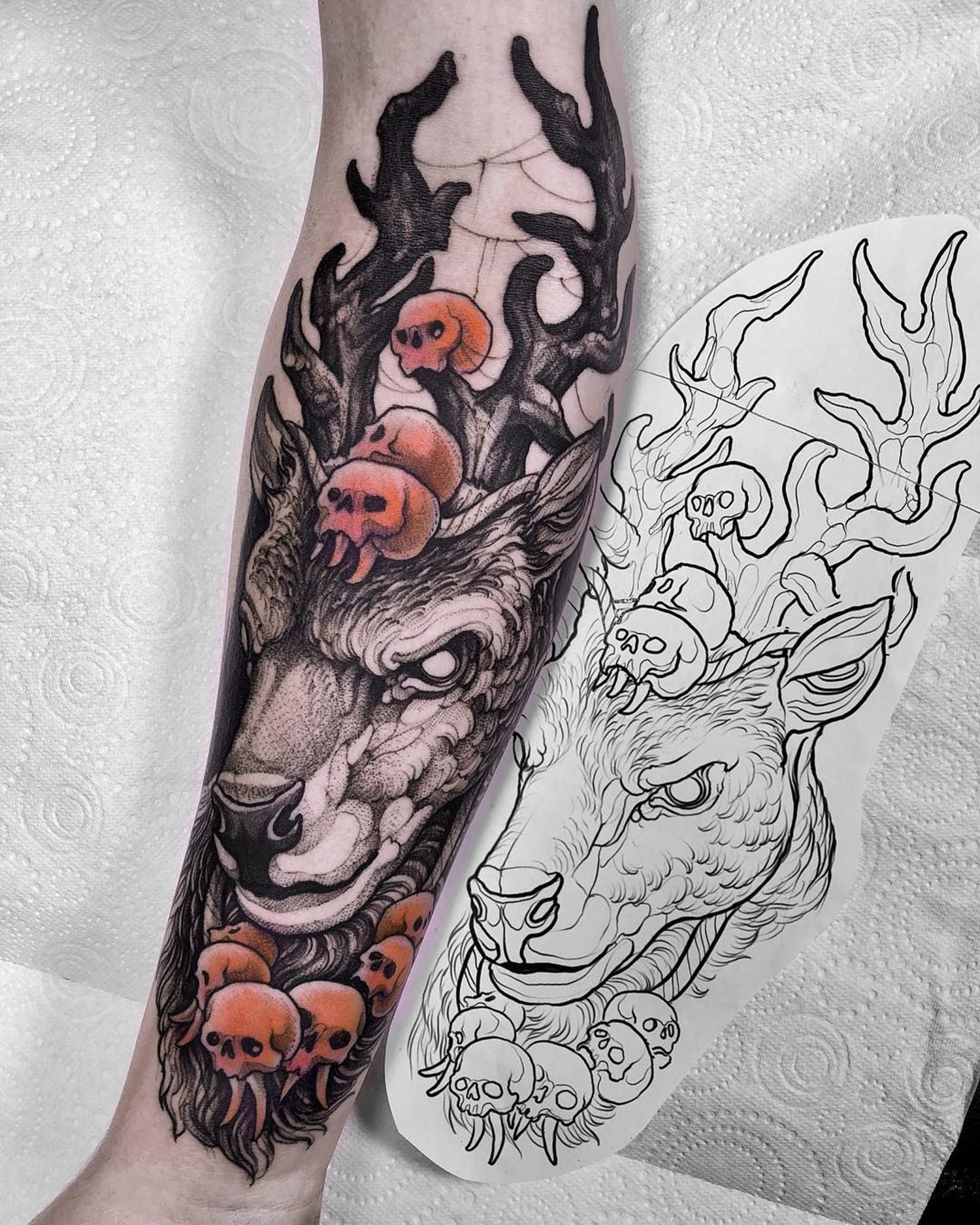 stag and skulls, neotraditional tattoo