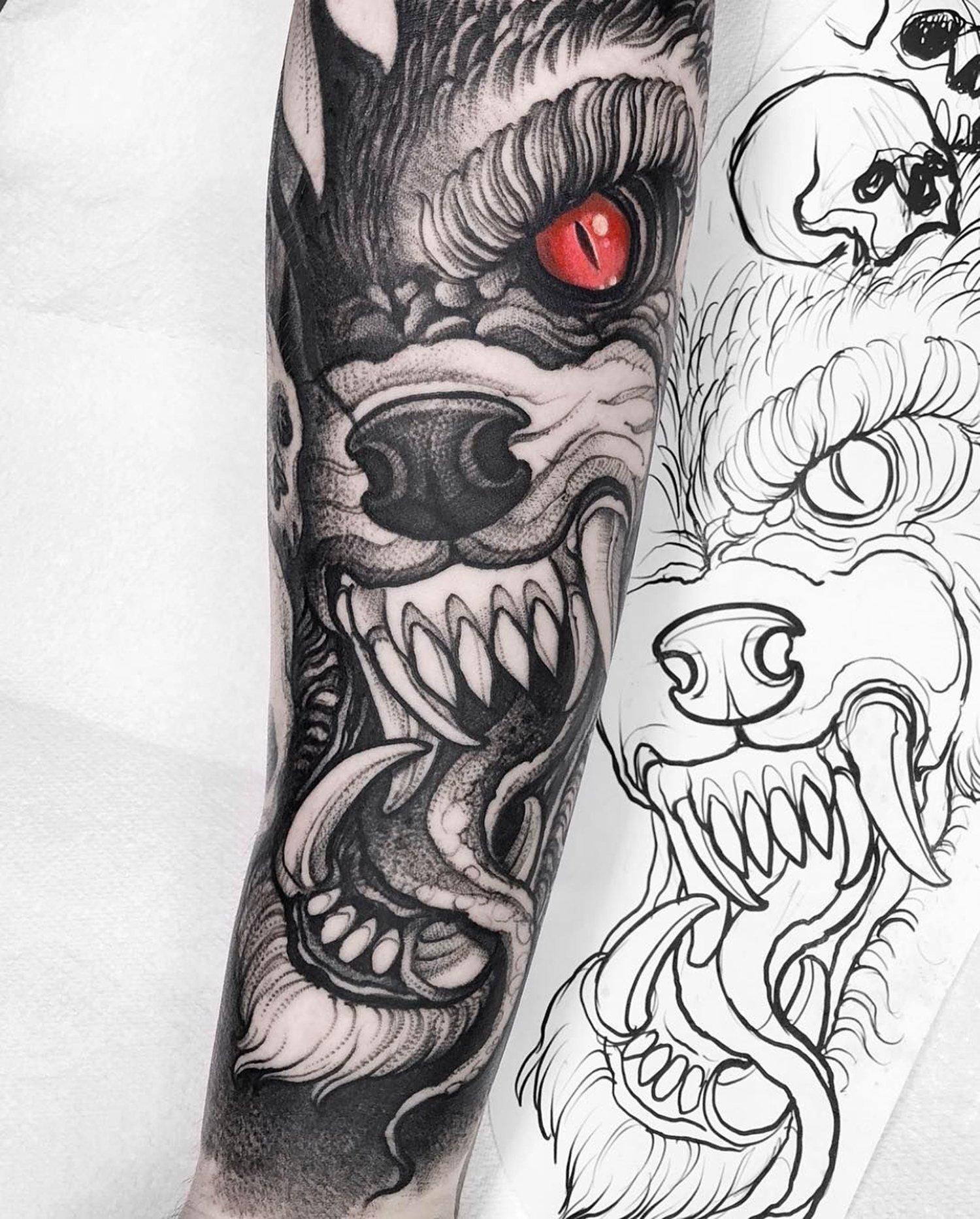 wolf illustrative tattoo