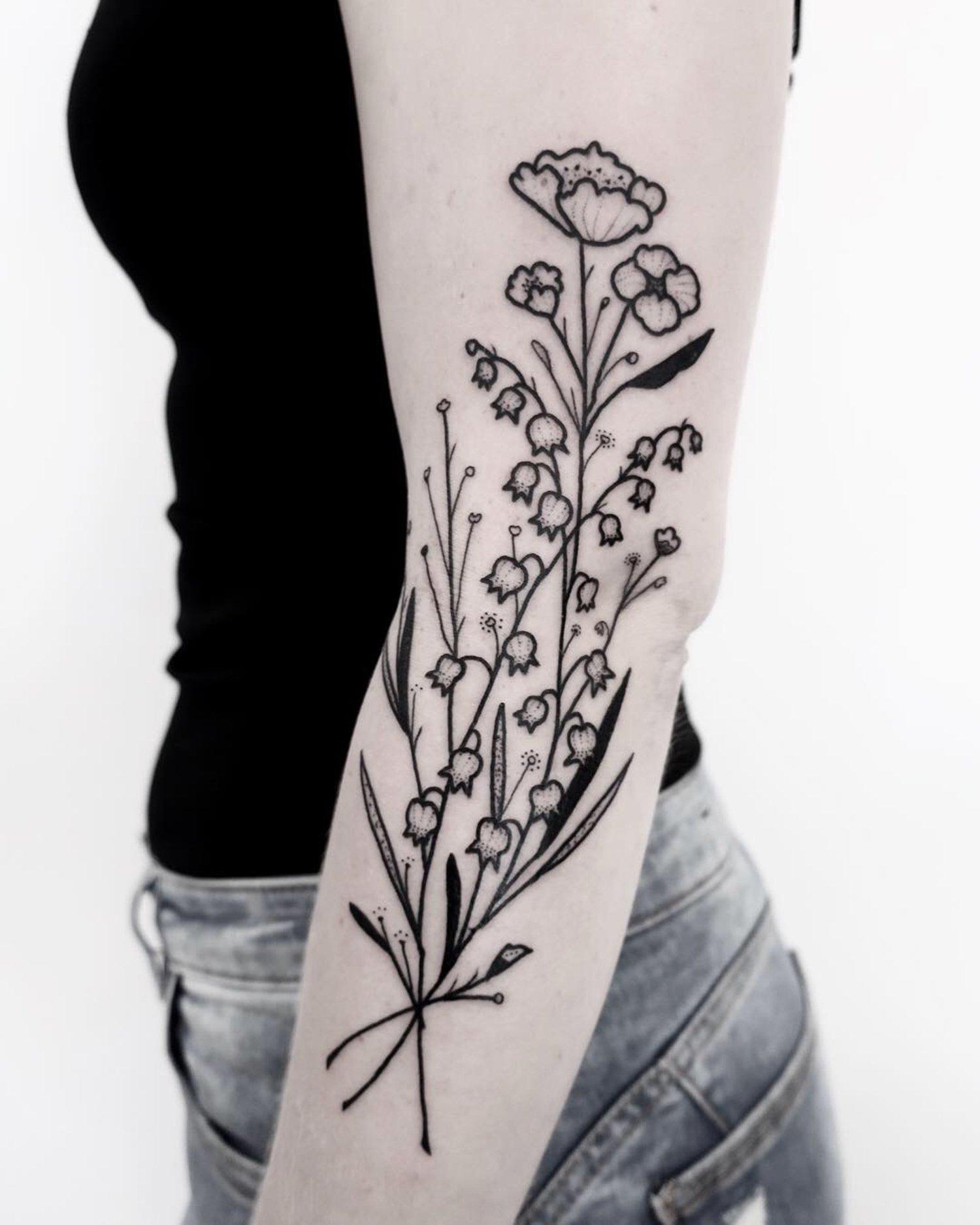 floral tattoo black ink