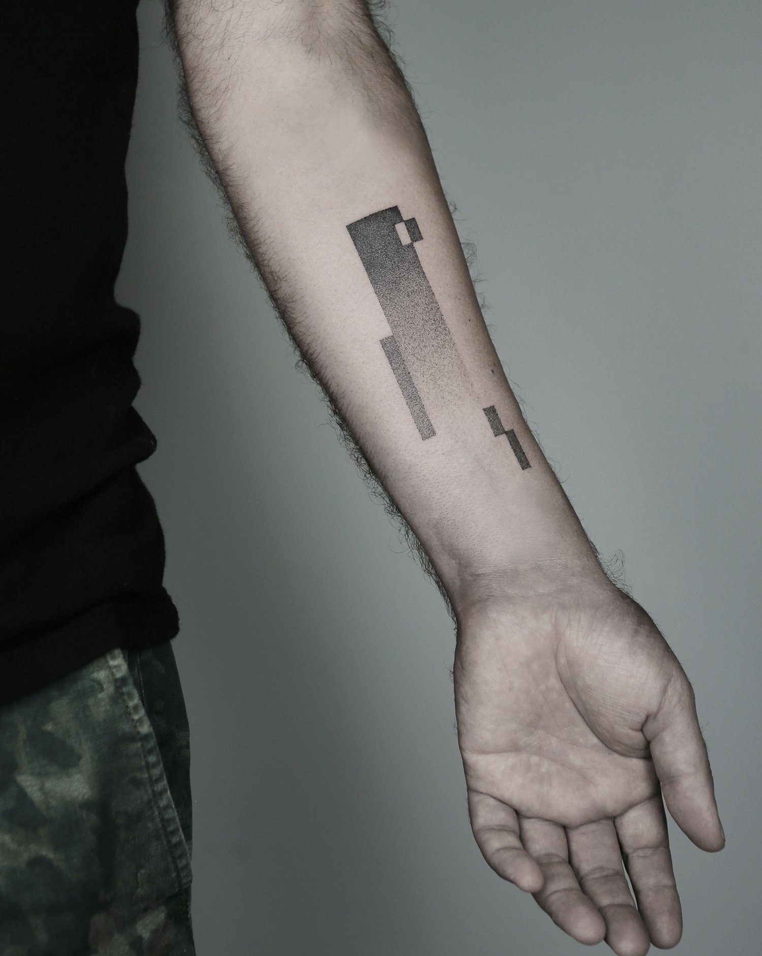 minimalist tattoo, rectangles on arm, dotwork