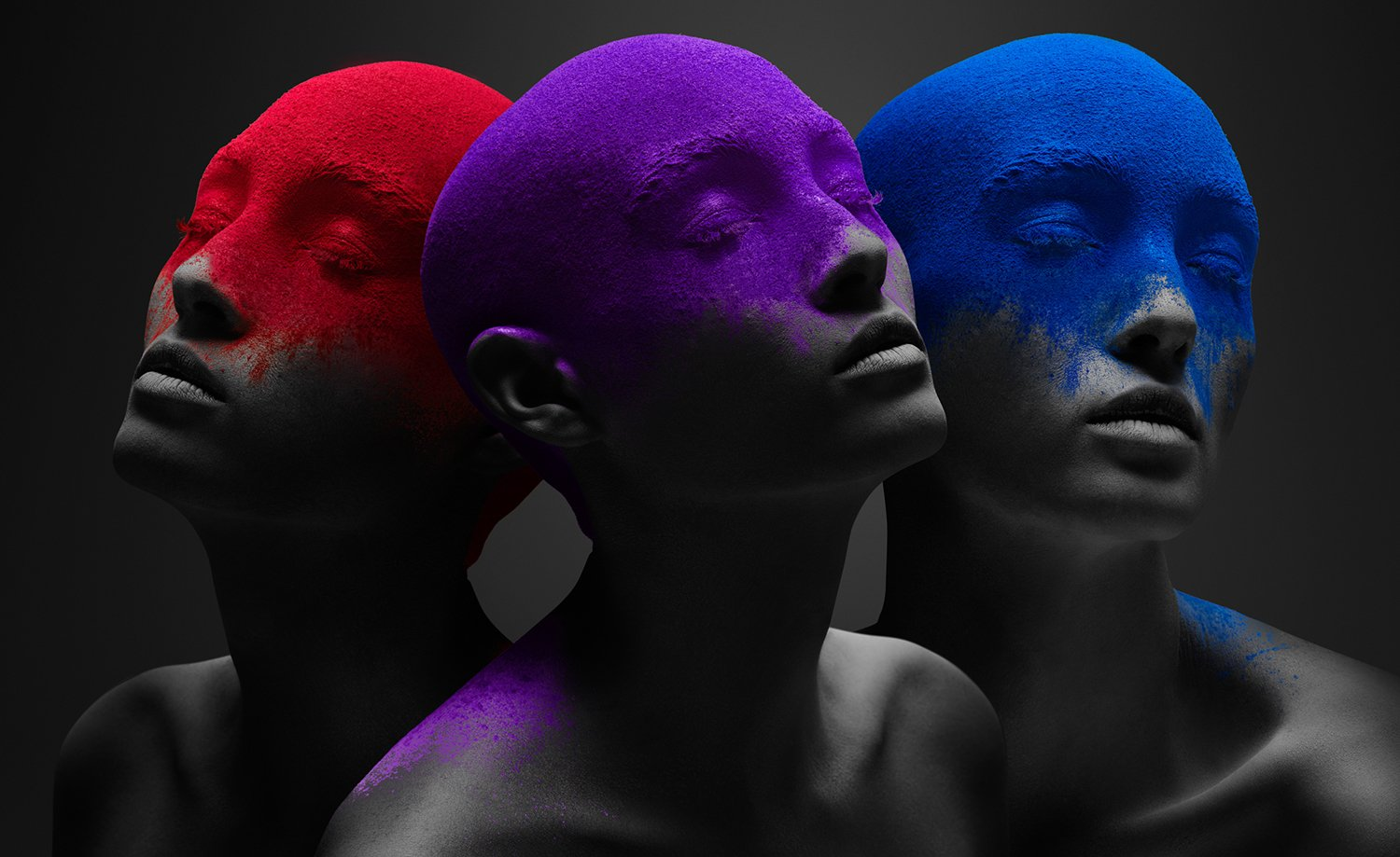 red, purple and blue, portraits