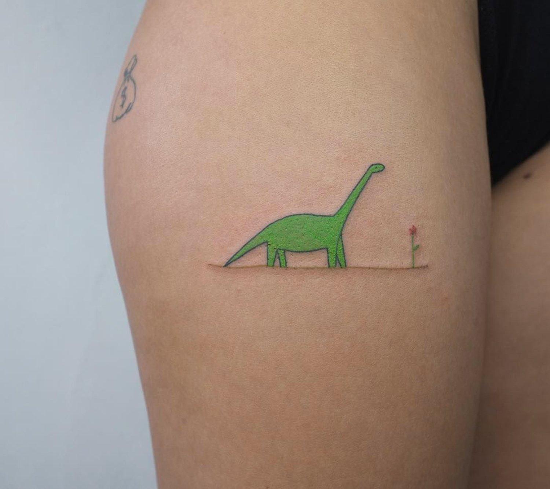 dinosaur tattoo, minimalist