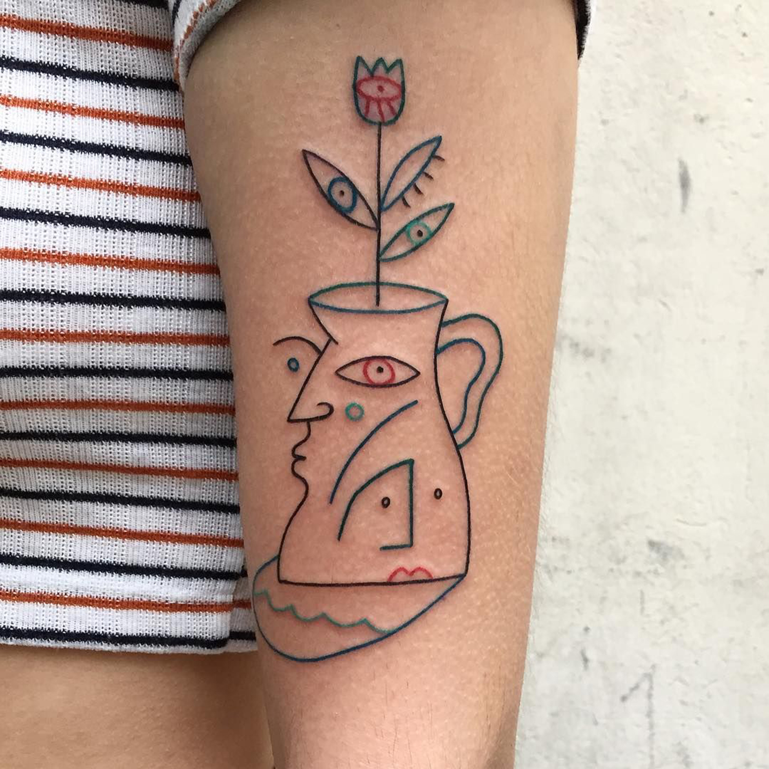 flower, vase and face, abstract linework tattoo