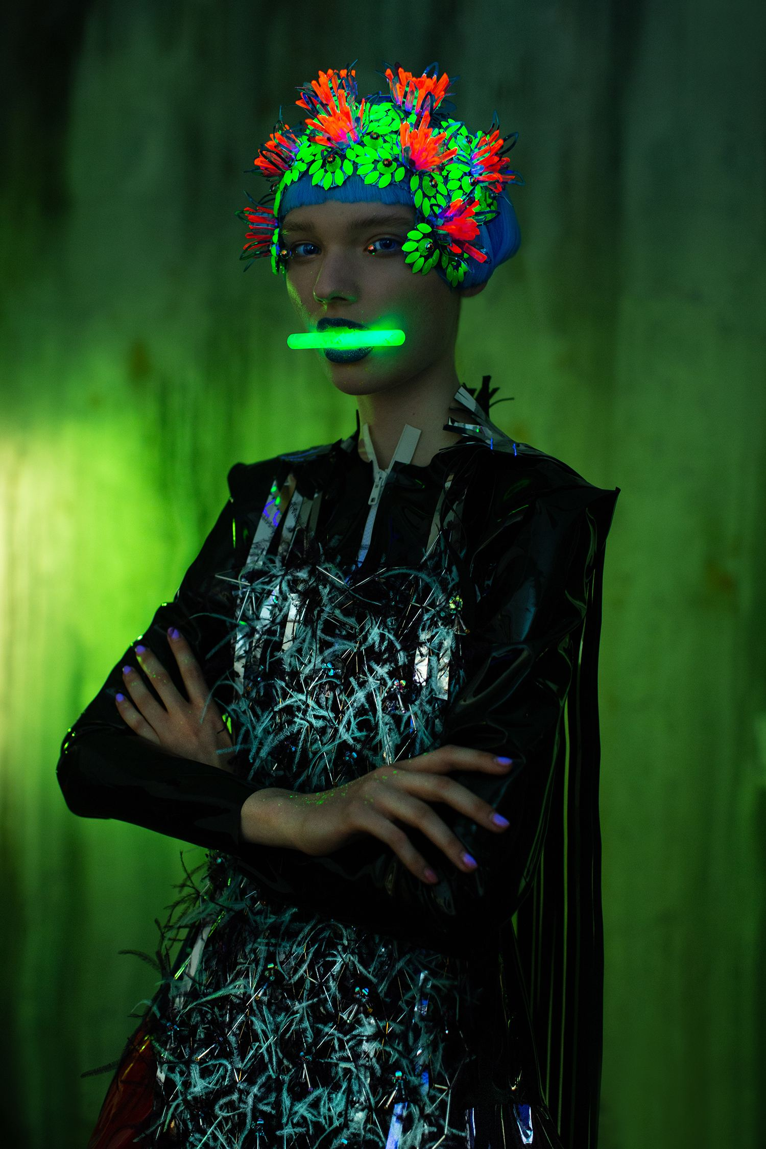 green image, neon portrait of woman