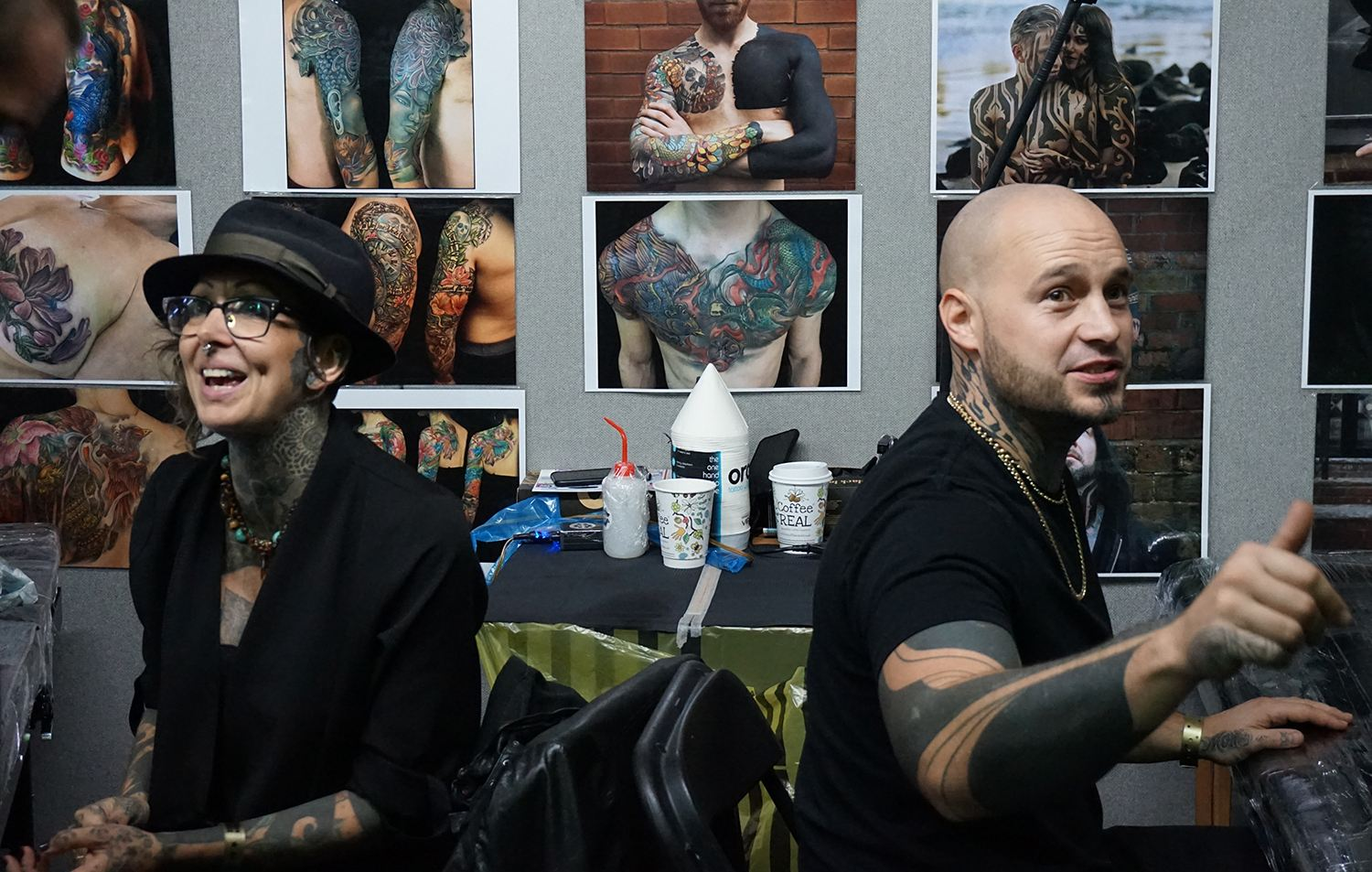 Jo Harrison and Hanumantra at tattoo convention