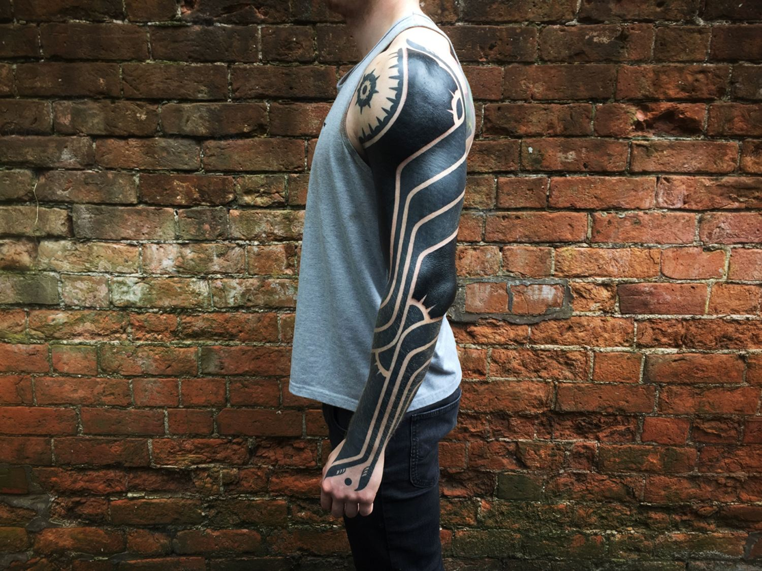 arm tattoo, blackwork, neotribal