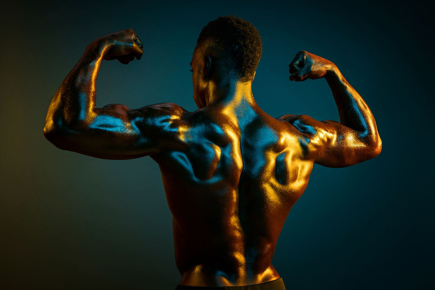 blue and yellow muscle portrait