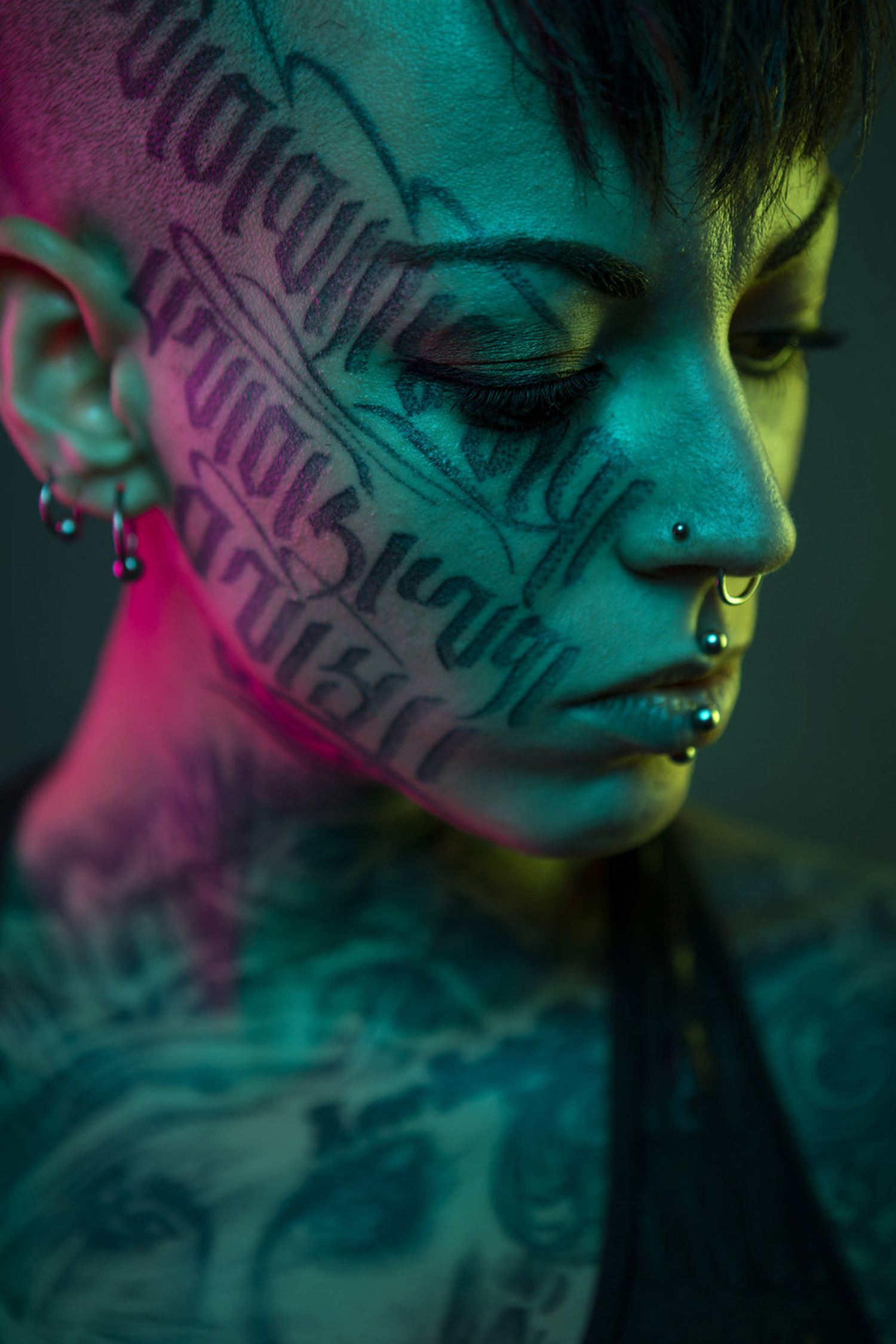 tattooed, calligraphy face, portrait photography