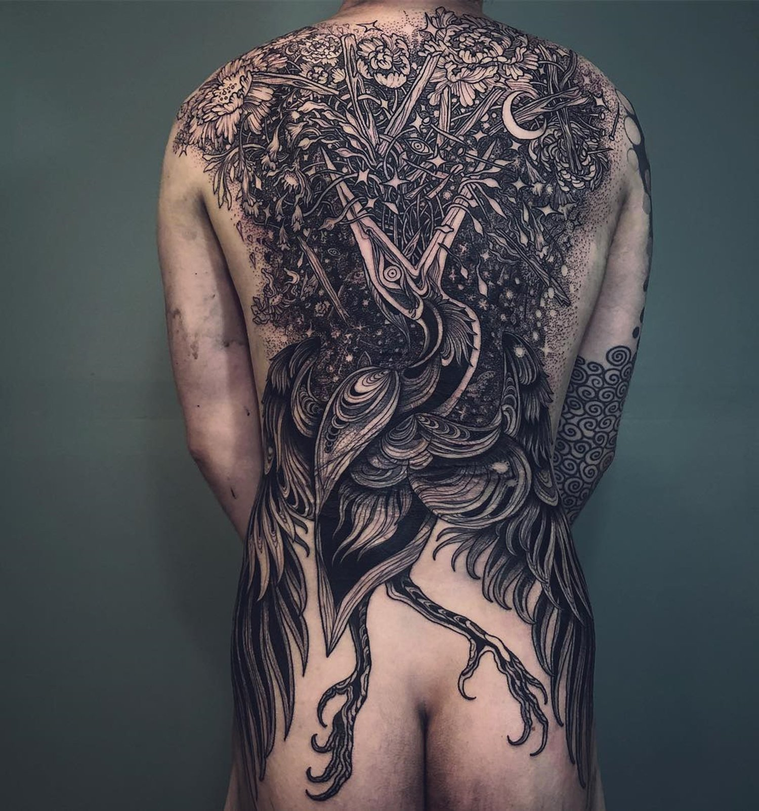 kingfisher back tattoo, illustrative by loone