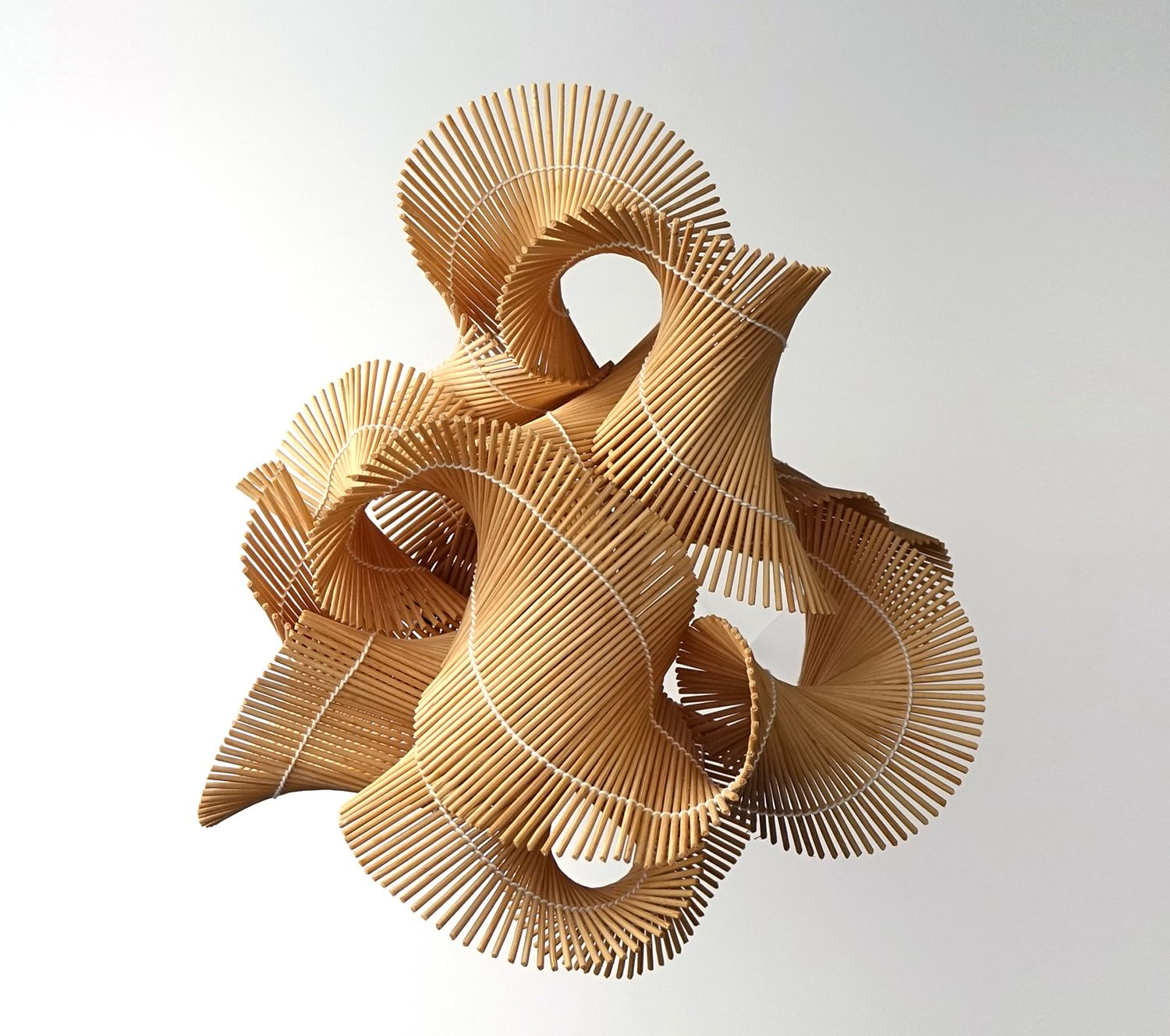 Wood Storm Desktop Installation by Naai-Jung Shih, sculpture