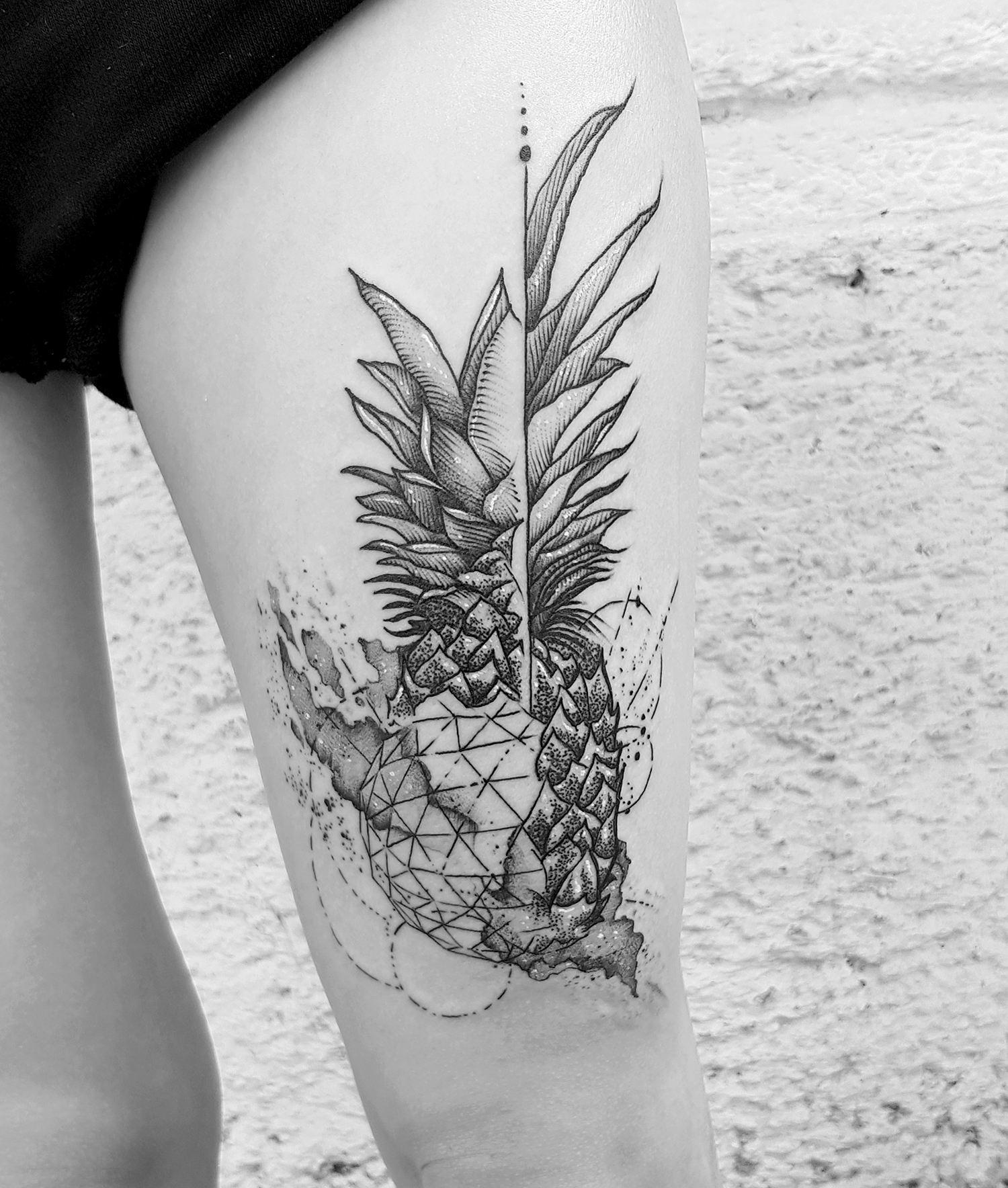 pineapple tattoo, sketch blackwork