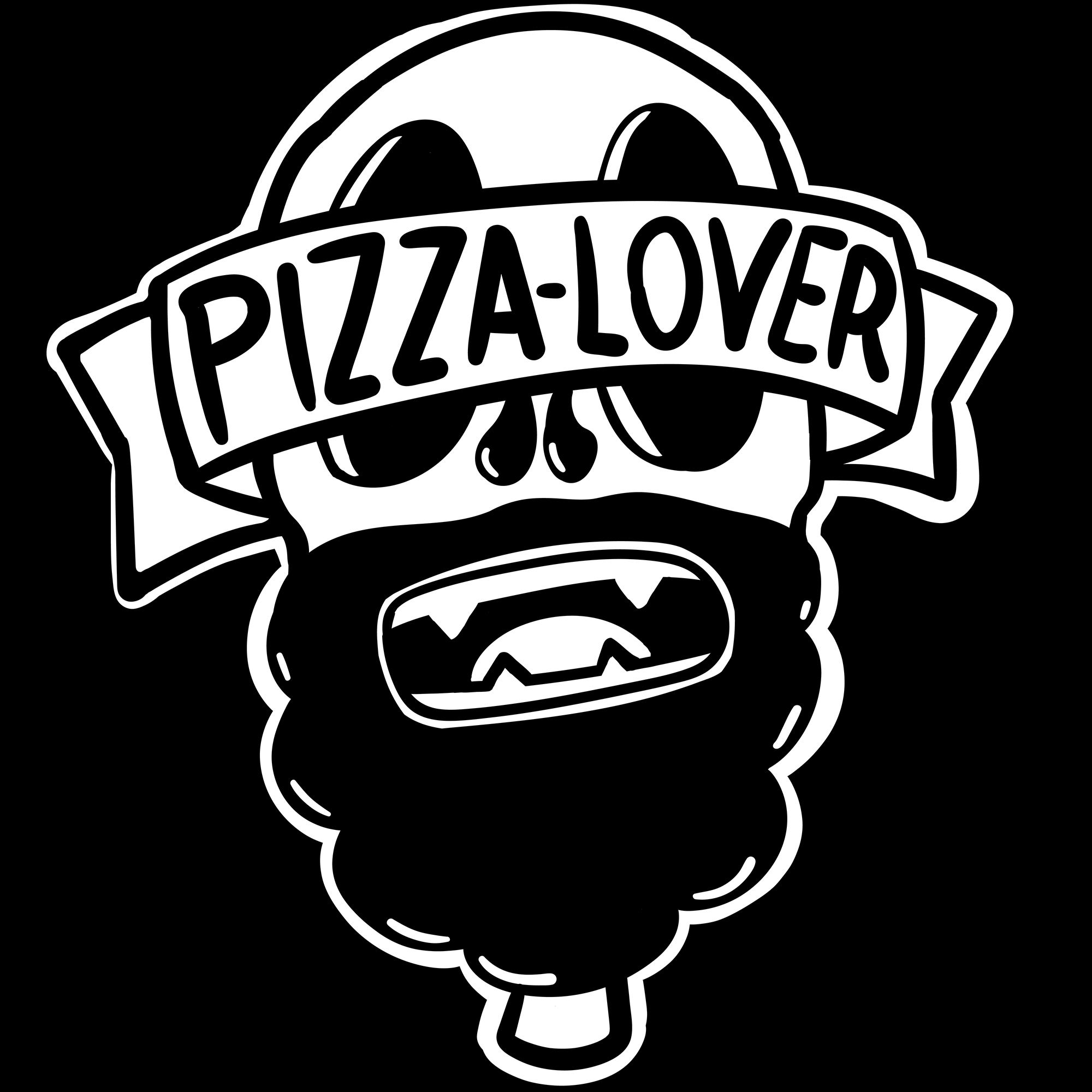 pizza lover, black and white illustration
