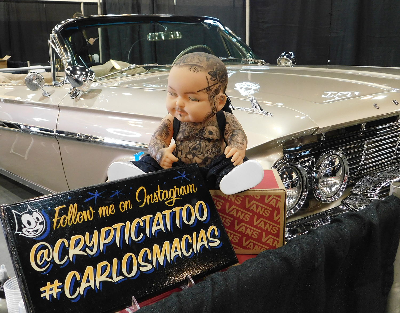 tattoo baby and classic car at tattoo event, carlosmacias